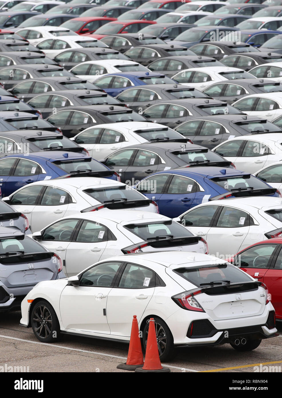 Honda Cars Lined Up At Southampton Docks Prior To Being Loaded Onto