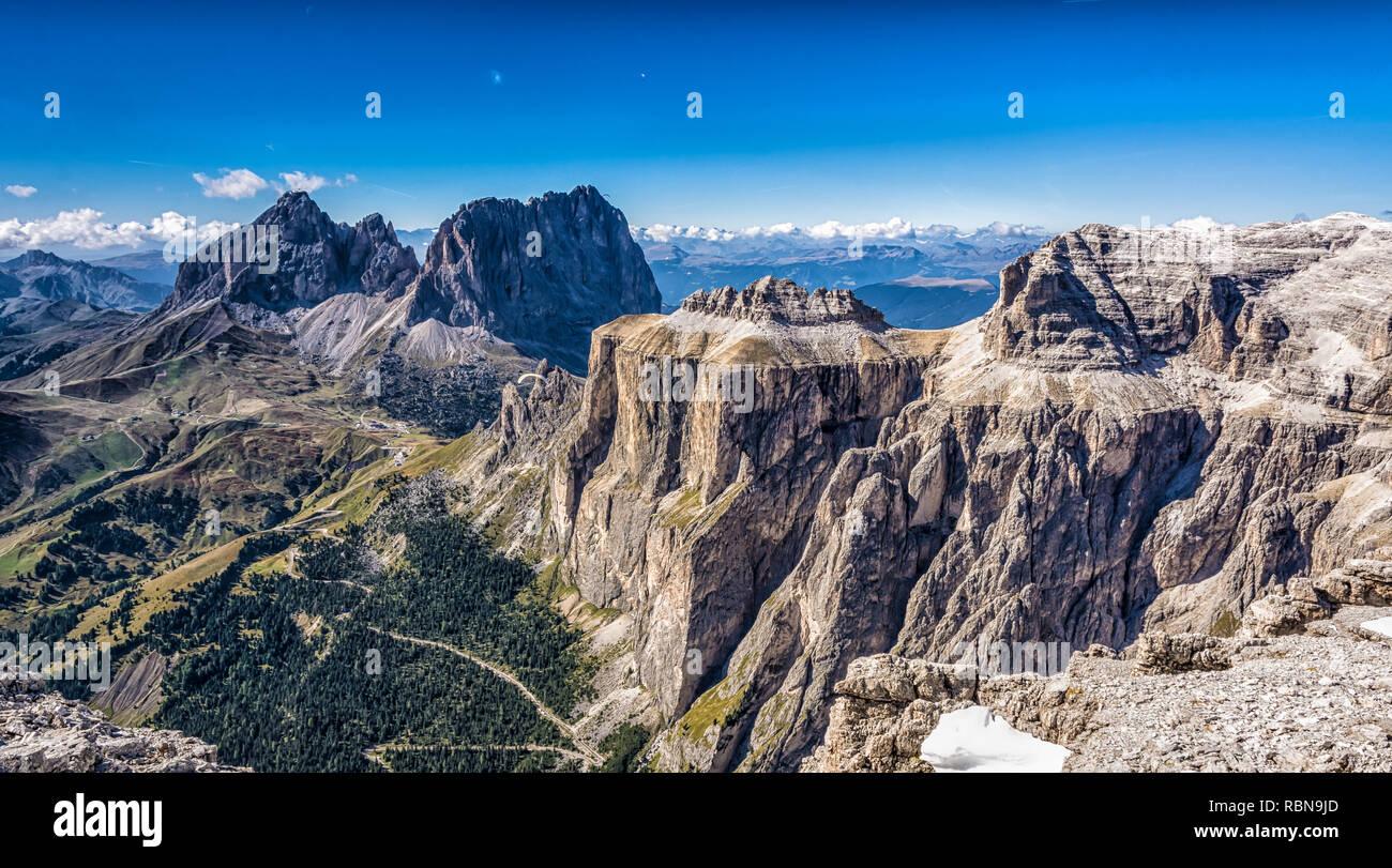 Marmolada mountain range seen from the Sass Pordoi plateau in Dolomites, Trentino Alto Adige, northern Italy, Europe - Stock Photo