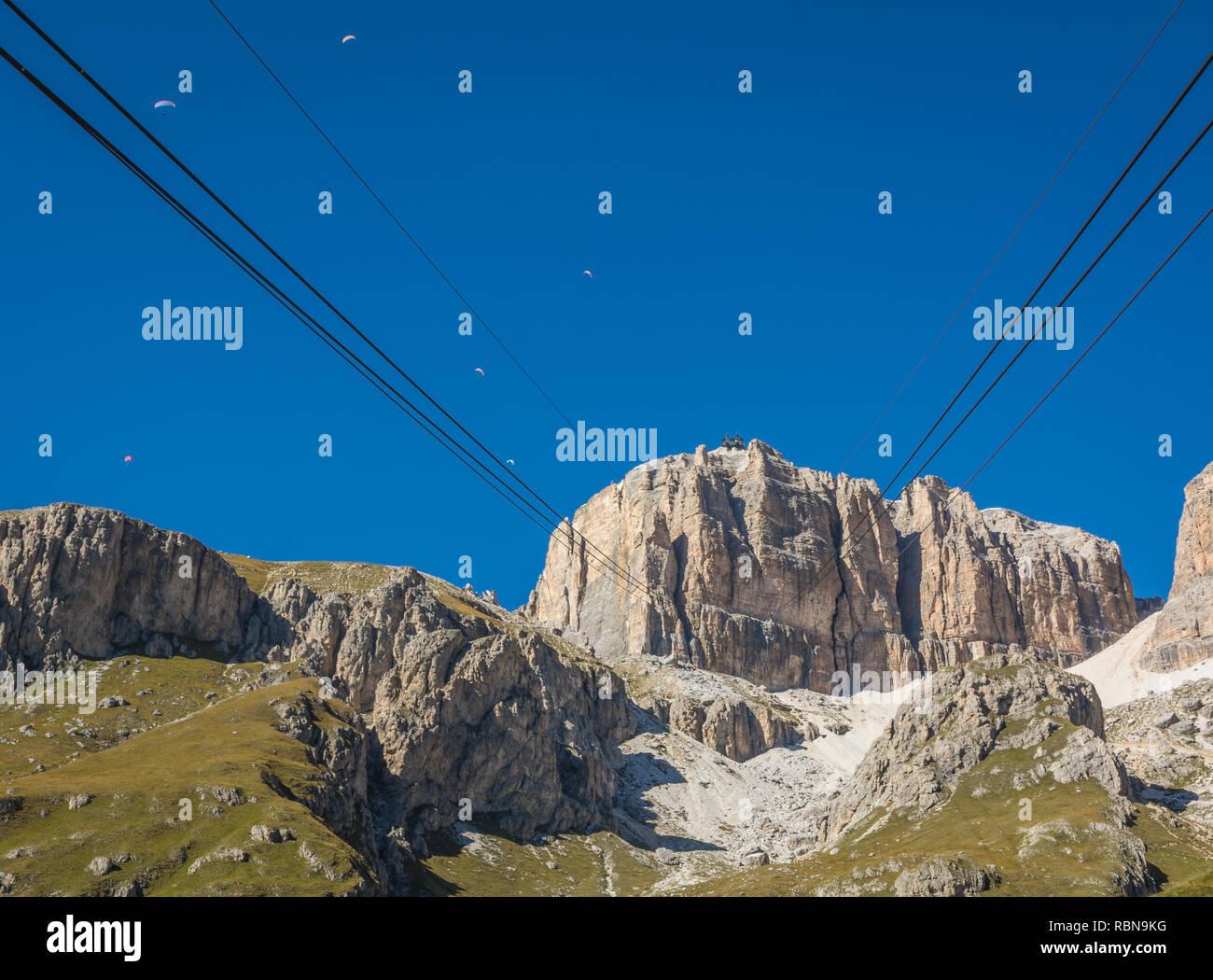 View of the mountain Sass Pordoi from the cable car station on Pordoi Pass, dolomites, Trentino Alto Adige, northern Italy - Stock Image