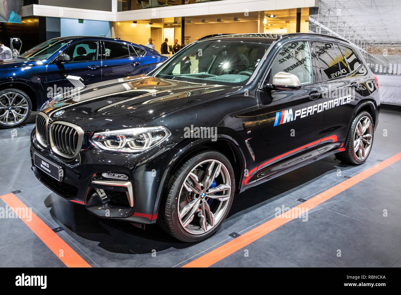 Brussels Jan 10 2018 Bmw X3 M Performance Car Showcased At The Brussels Expo Autosalon Motor Show Stock Photo Alamy