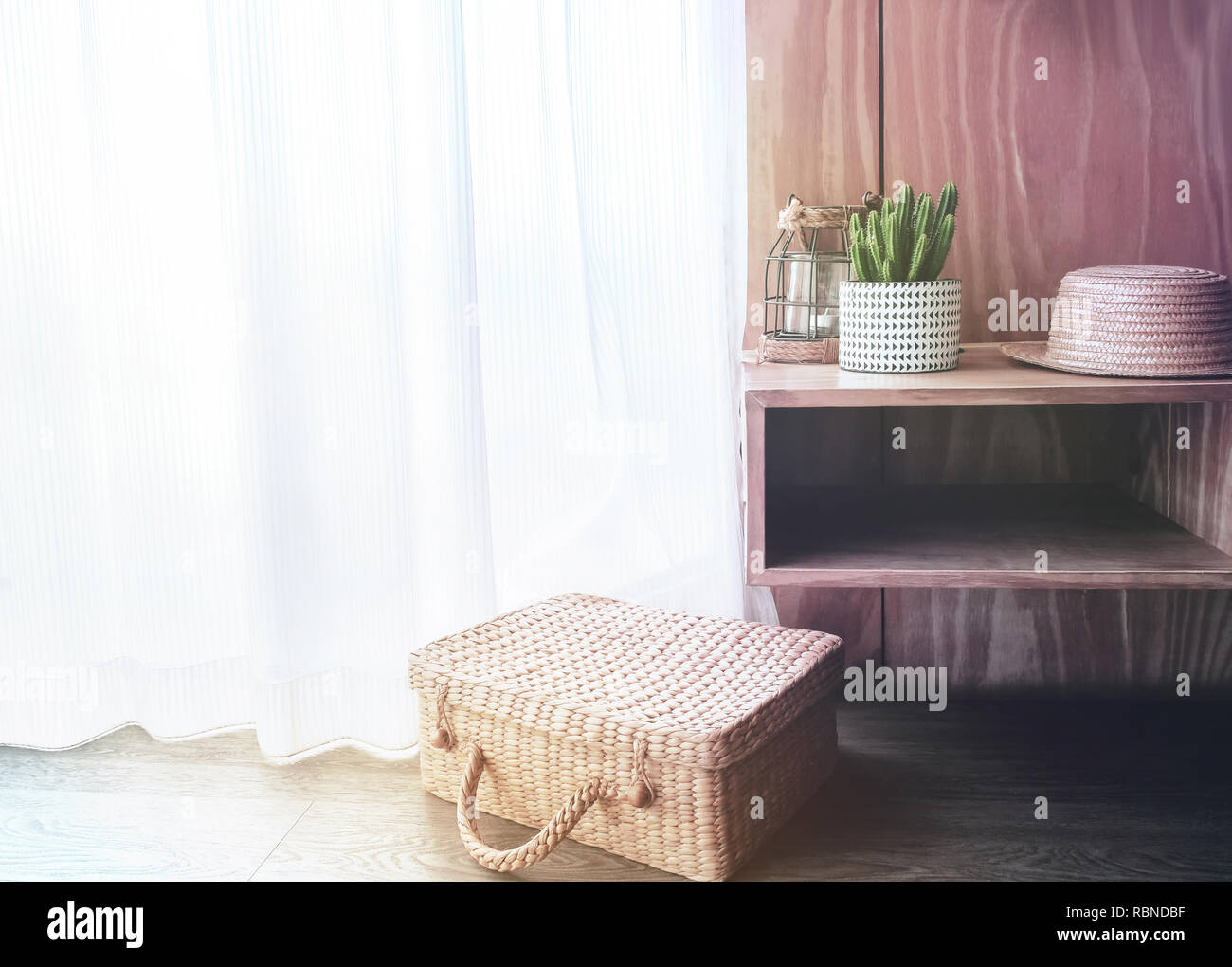 Decorated By Hat, Suitcase, Candle Light And Tree Pot. Interior Design  Concept