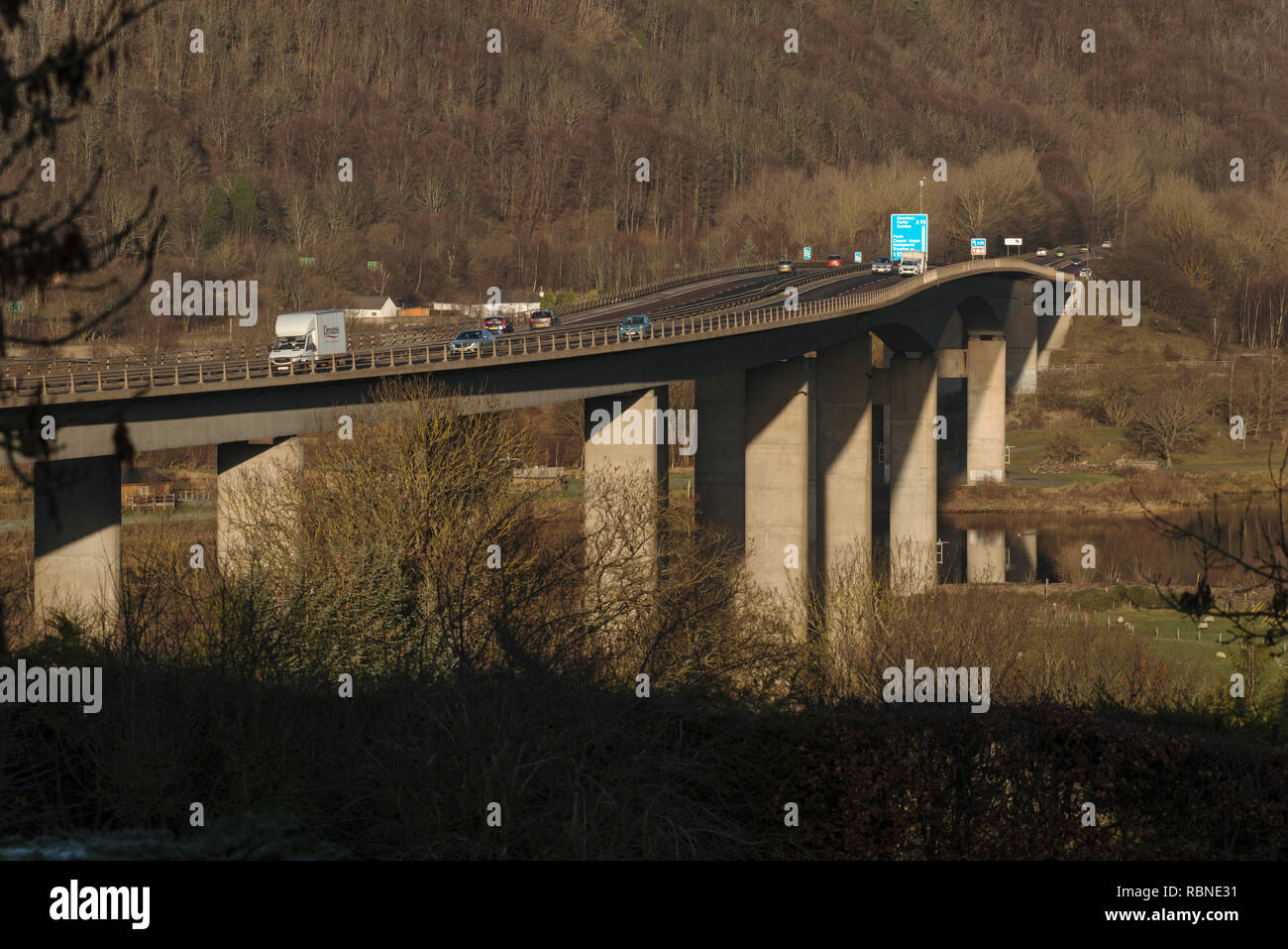 Friarton bridge, which crosses the river Tay at Perth, is a major element of the motorway network in Scotland Stock Photo