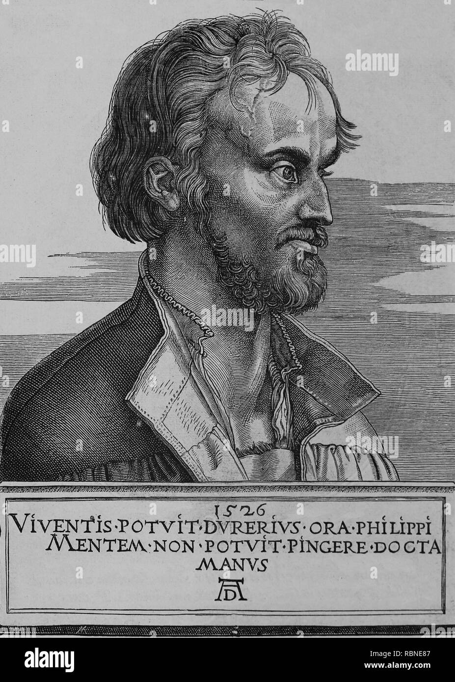 Philip Melanchthon (1497-1560). German Lutheran reformer collaboartor with Martin Luther. Portrait. Engraving, 1887 of Germania. - Stock Image