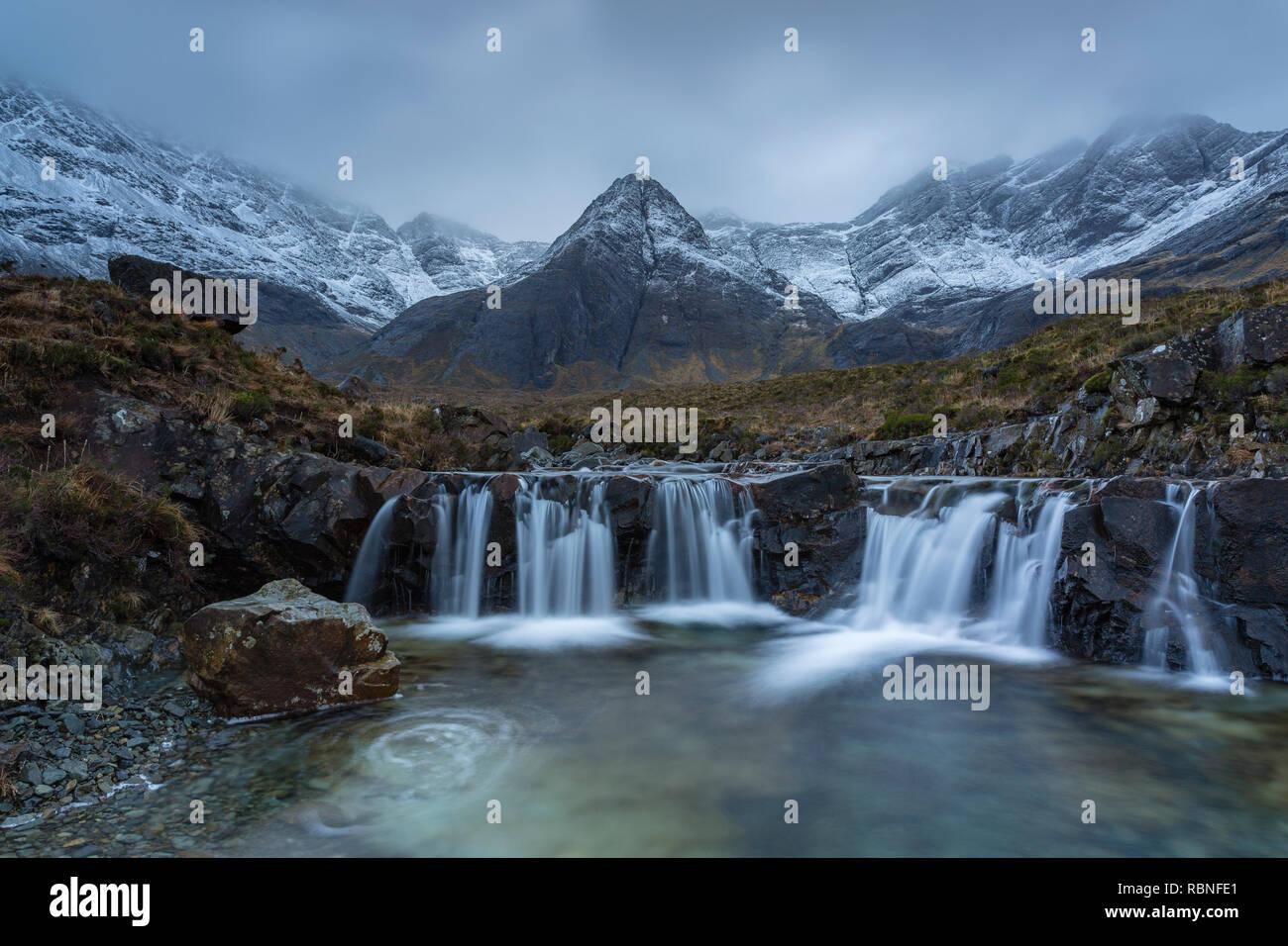 Sgurr an Fheadain and the Black Cuillin from the Fairy Pools, Glen Brittle, Isle of Skye, Scotland - Stock Image