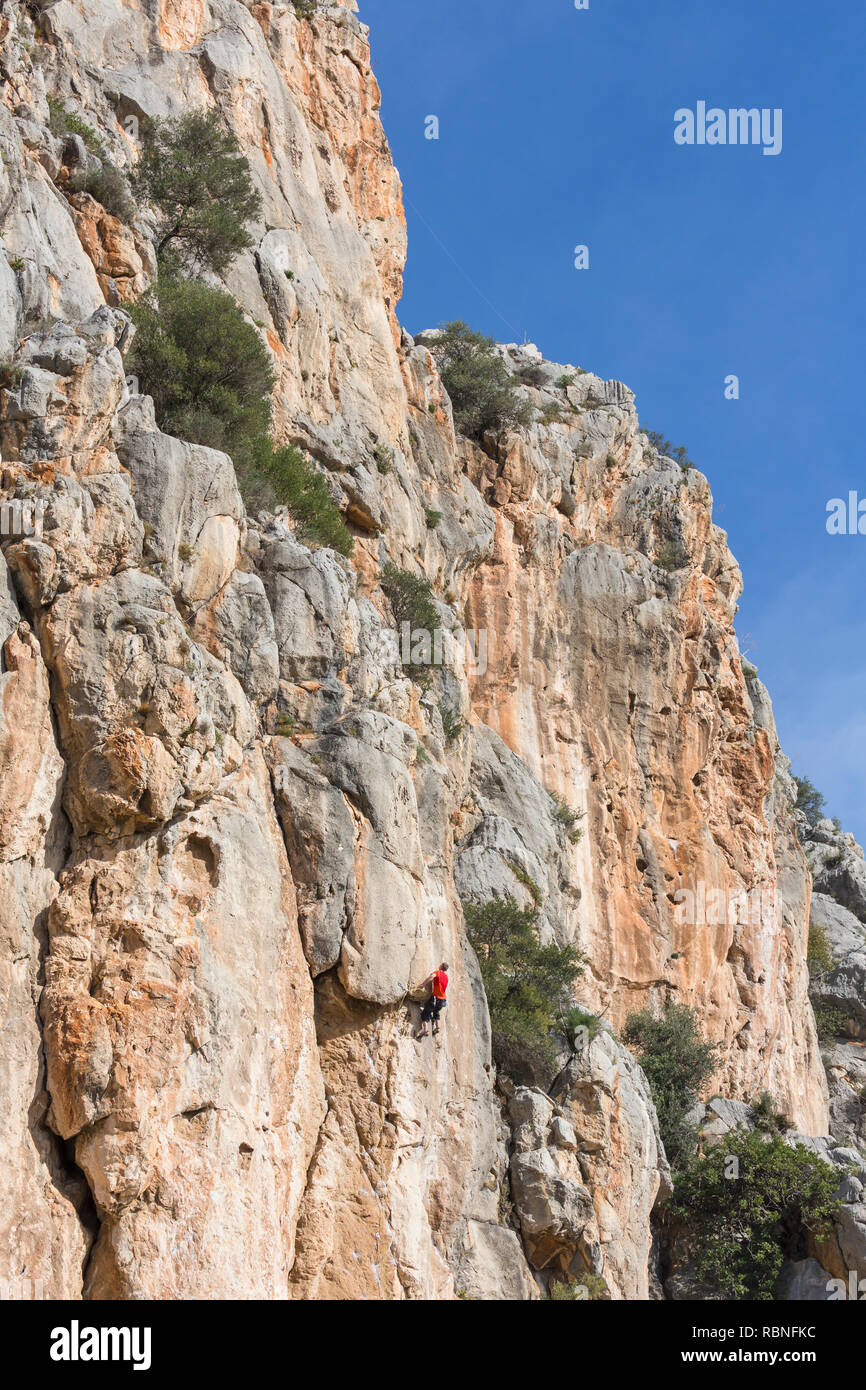 Rock Climber Near Valle De Abdalajis Malaga Province Andalusia Southern Spain