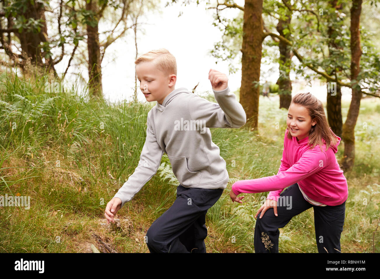 Two children walking together through a forest by tall grass, side view - Stock Image