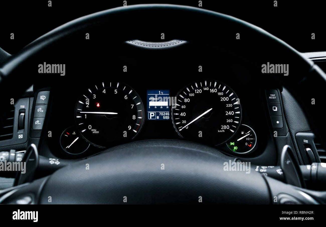 Car Instrument Panel Dashboard Closeup With Visible Speedometer And Fuel Level Modern Steering Wheel Modern Car Interior Details Stock Photo Alamy