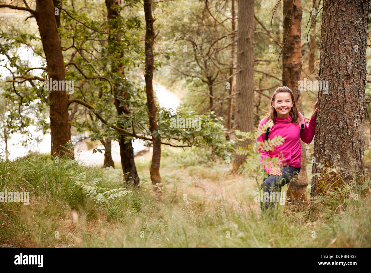 Pre-teen girl stands leaning against a tree in a forest, seen through tall grass - Stock Image