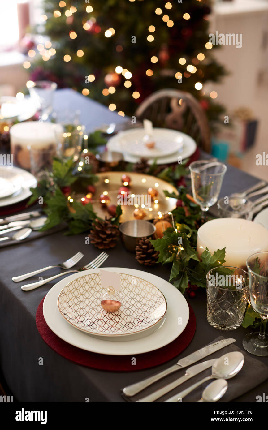 Christmas Table Setting With Bauble Name Card Holder Arranged On A