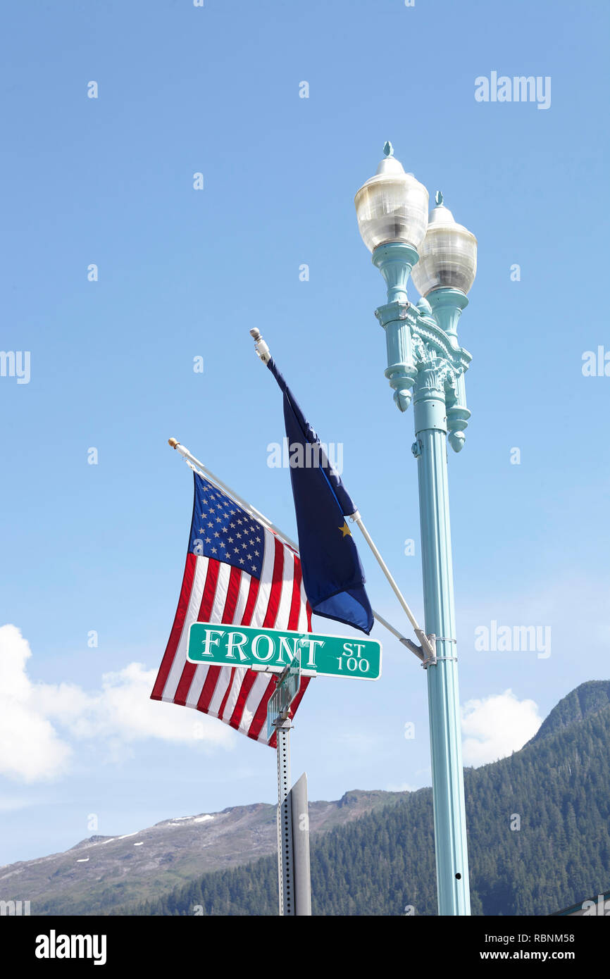 American And European Union Flags Flying From Lamp Post - Stock Image
