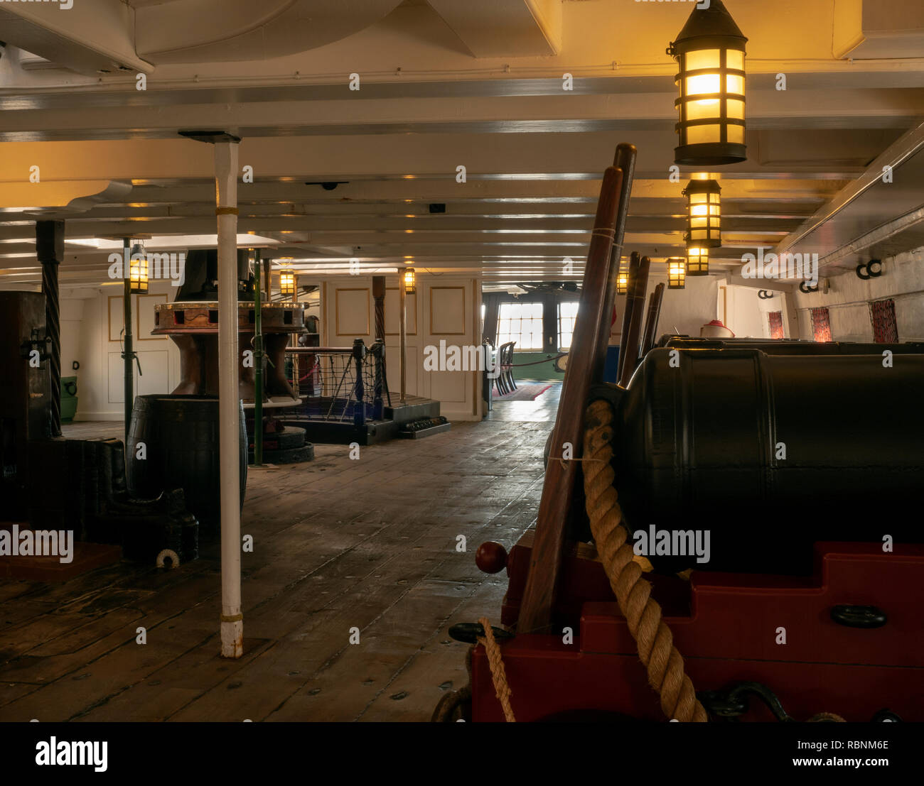 HMS Trincomalee, National Museum of The Royal Navy, Hartlepool, County Durham, England, UK - view of the lower deck. - Stock Image