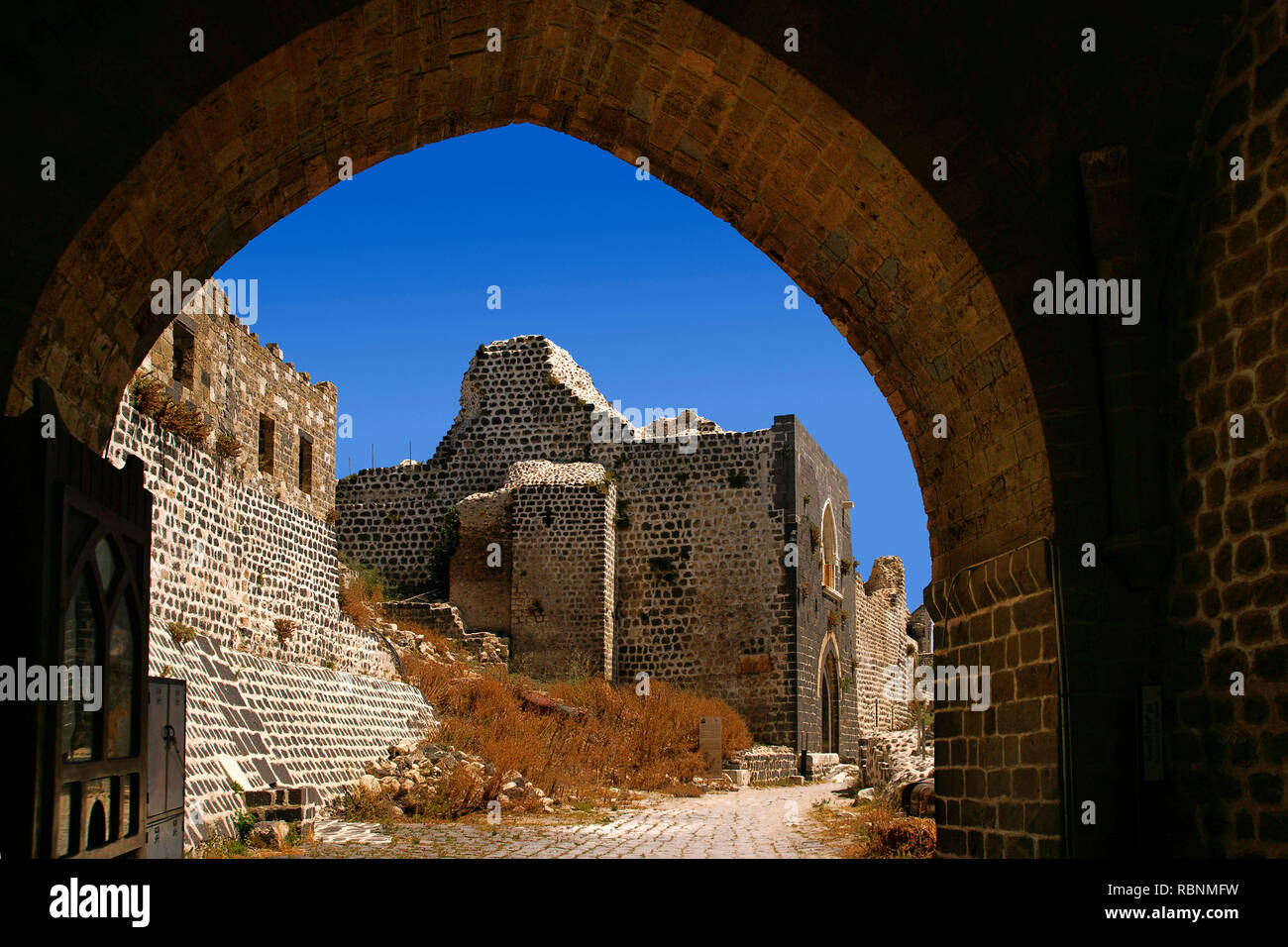 The Margat castle of the crusaders, entrance gate. Marqab, Syria, Middle East - Stock Image