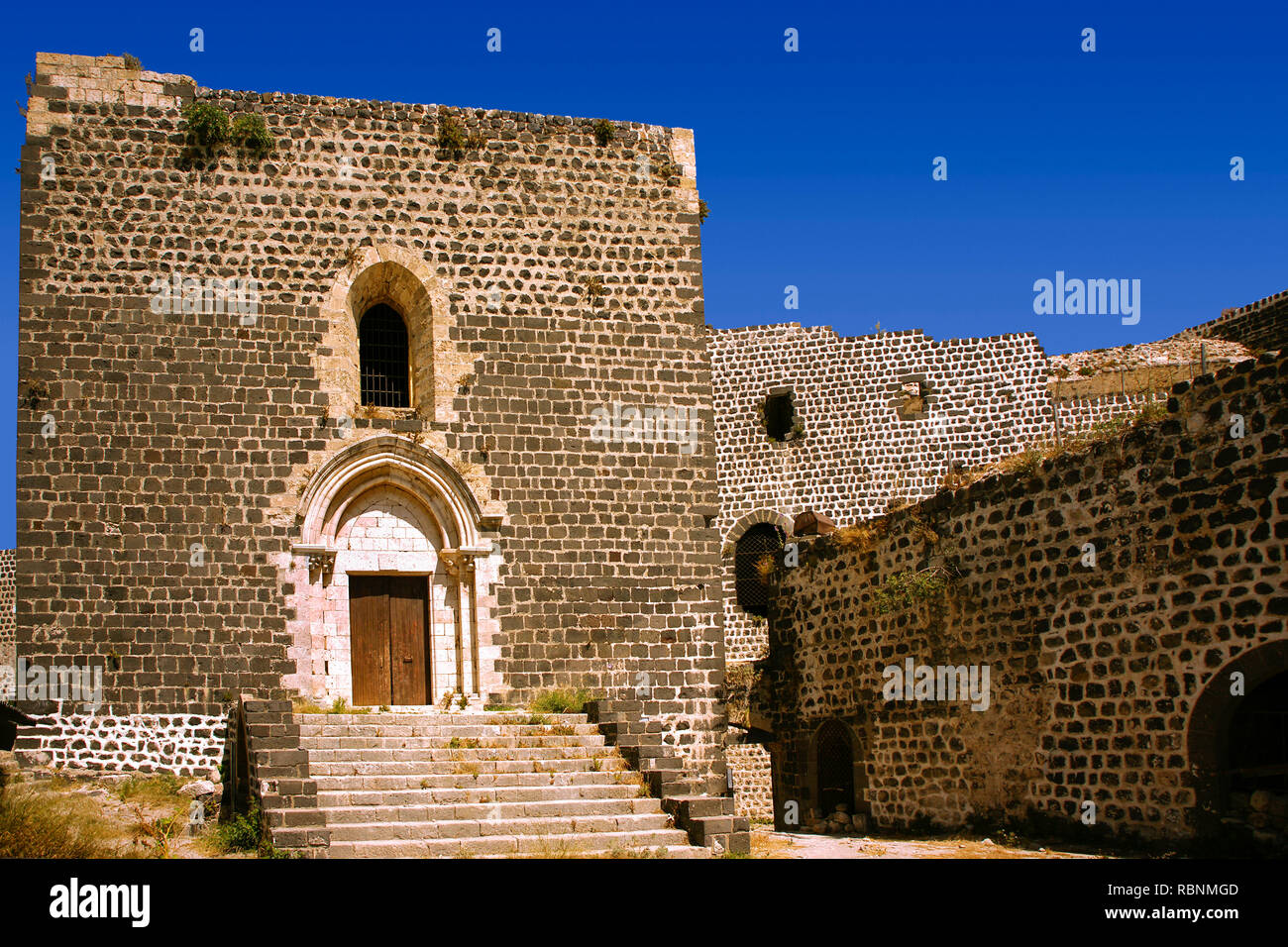 Chapel, The Margat castle of the crusaders, entrance gate. Marqab, Syria, Middle East Stock Photo