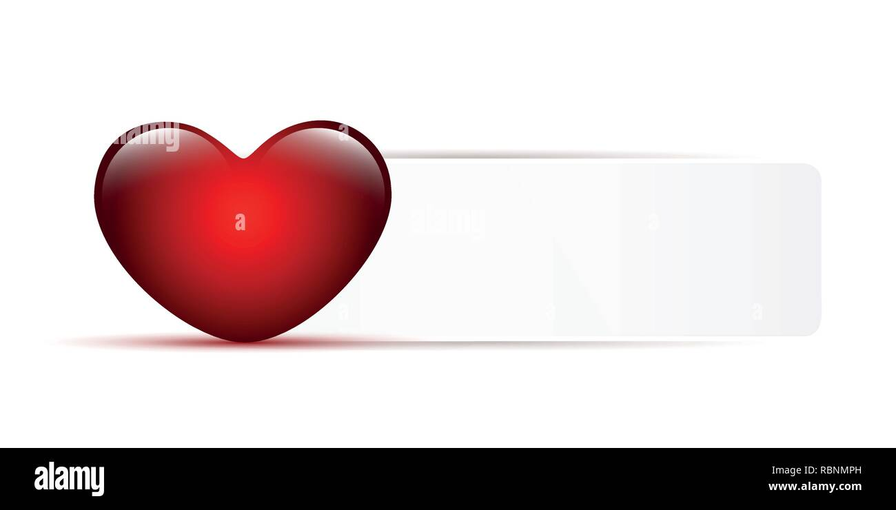 red shiny heart and white note with copy space for your message vector illustration EPS10 - Stock Vector