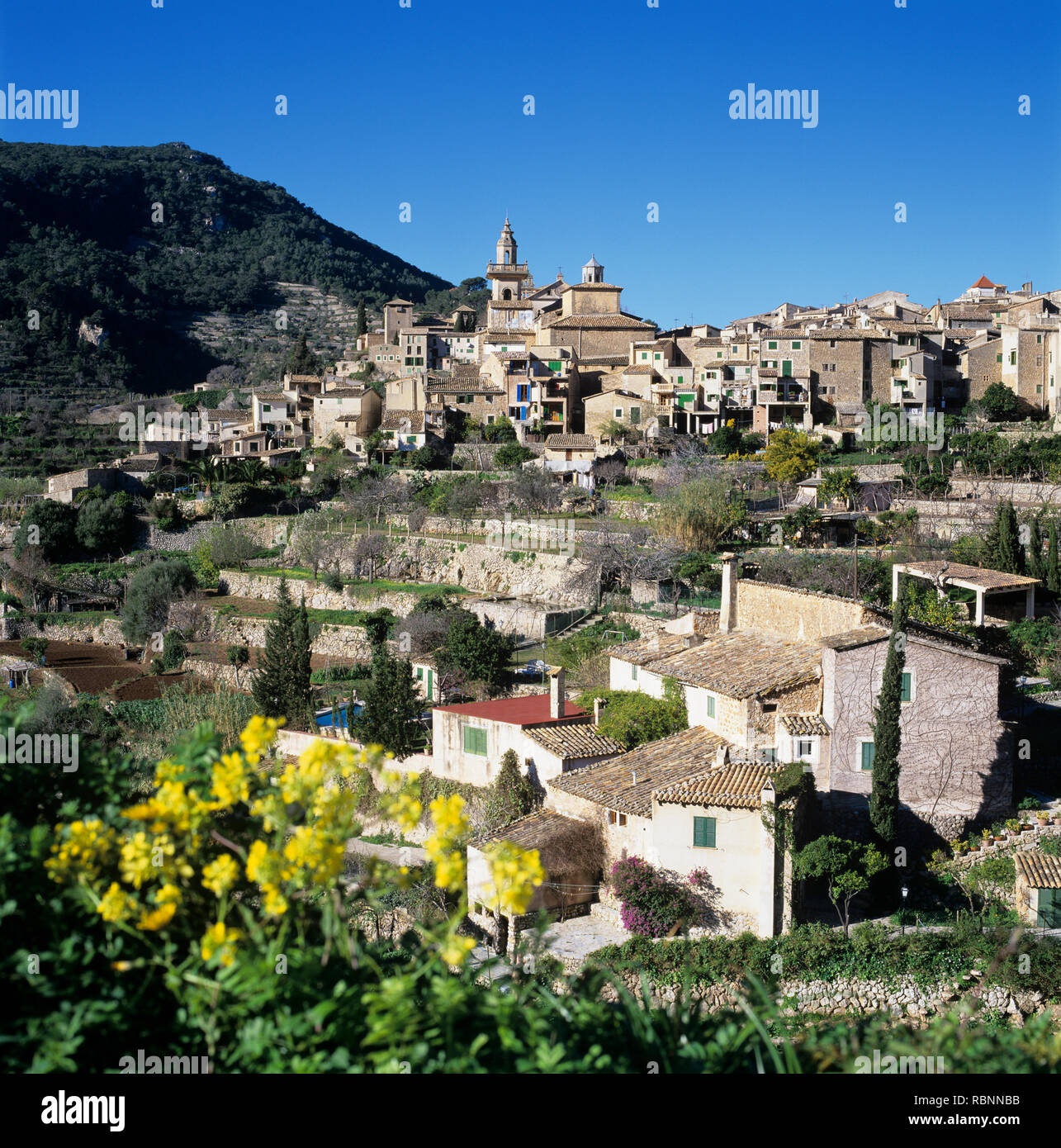 View of hilltop village of Valldemossa in spring, Majorca (Mallorca), Balearic Islands, Spain, Europe - Stock Image