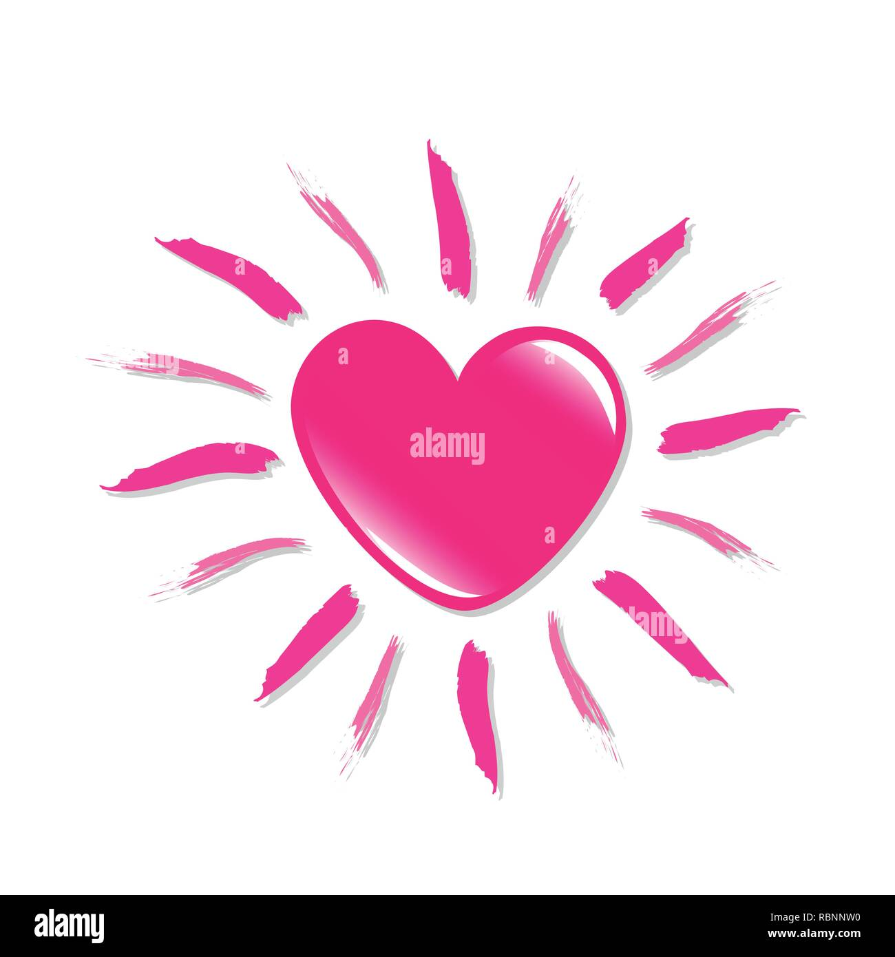 pink heart shaped sun isolated on white backgound vector illustraton EPS10 - Stock Image
