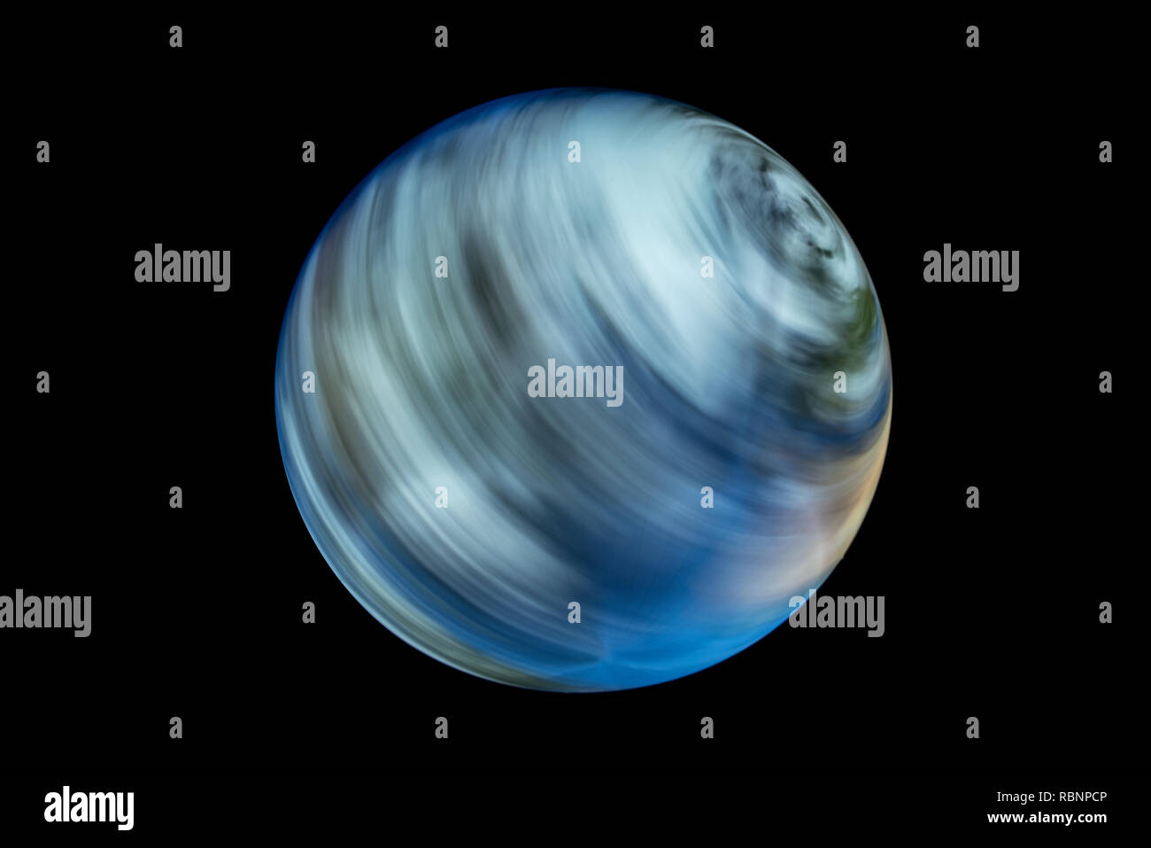 rotation earth globe with blurred clouds - Stock Image