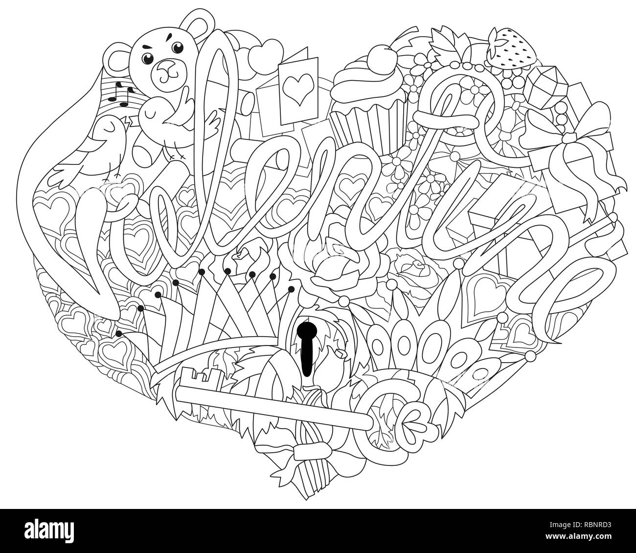 Vector Adult Coloring Book Textures with word VALENTINE ...
