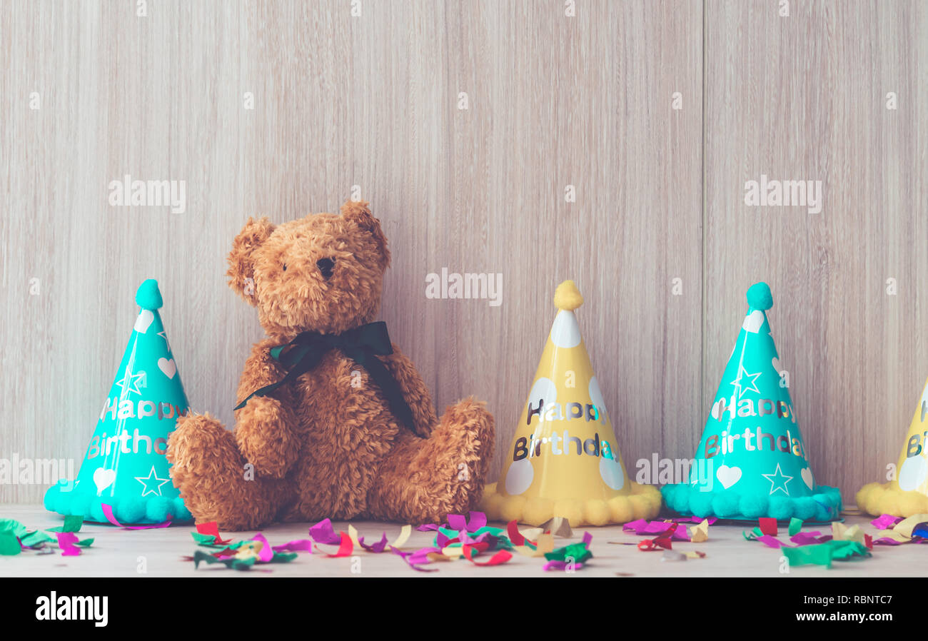 Kid birthday party stuff set up for copy space Stock Photo