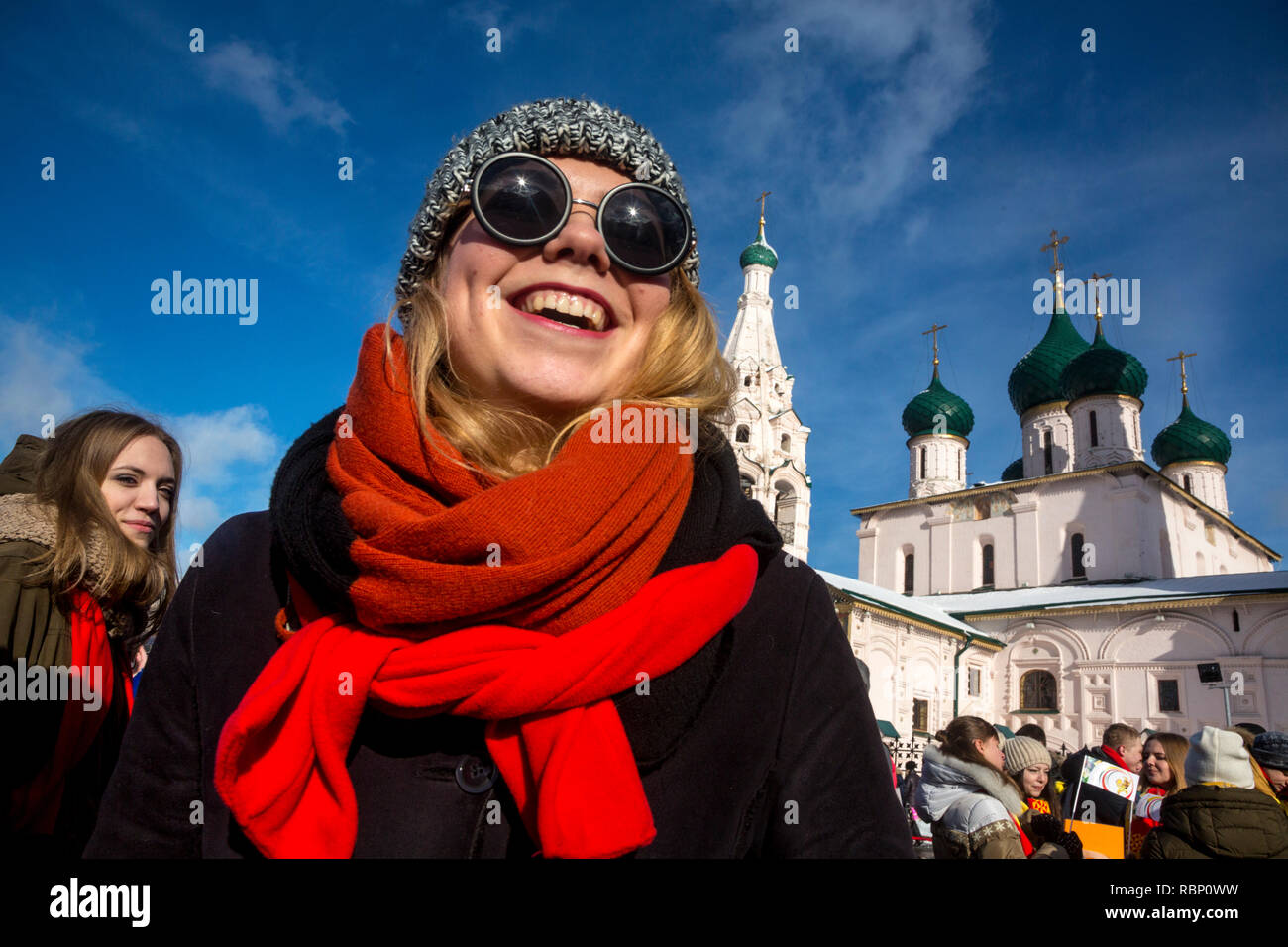 Students and youth of the city of Yaroslavl to take part in a youth flashmob during the Maslenitsa festival in city center of Yaroslavl, Russia - Stock Image