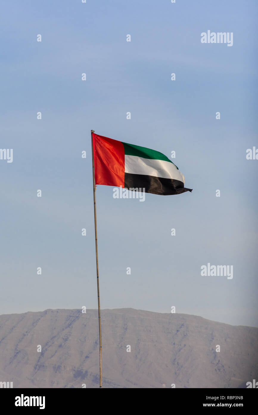 UAE flag blowing in the wind with a blue sky background in the bright evening sunshine. Stock Photo