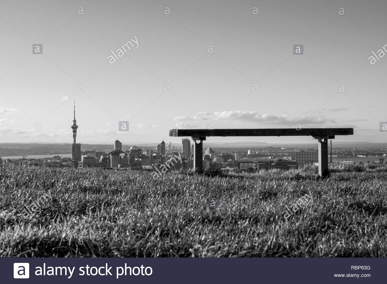 Bench and Sky Tower, Mt Eden - Stock Image