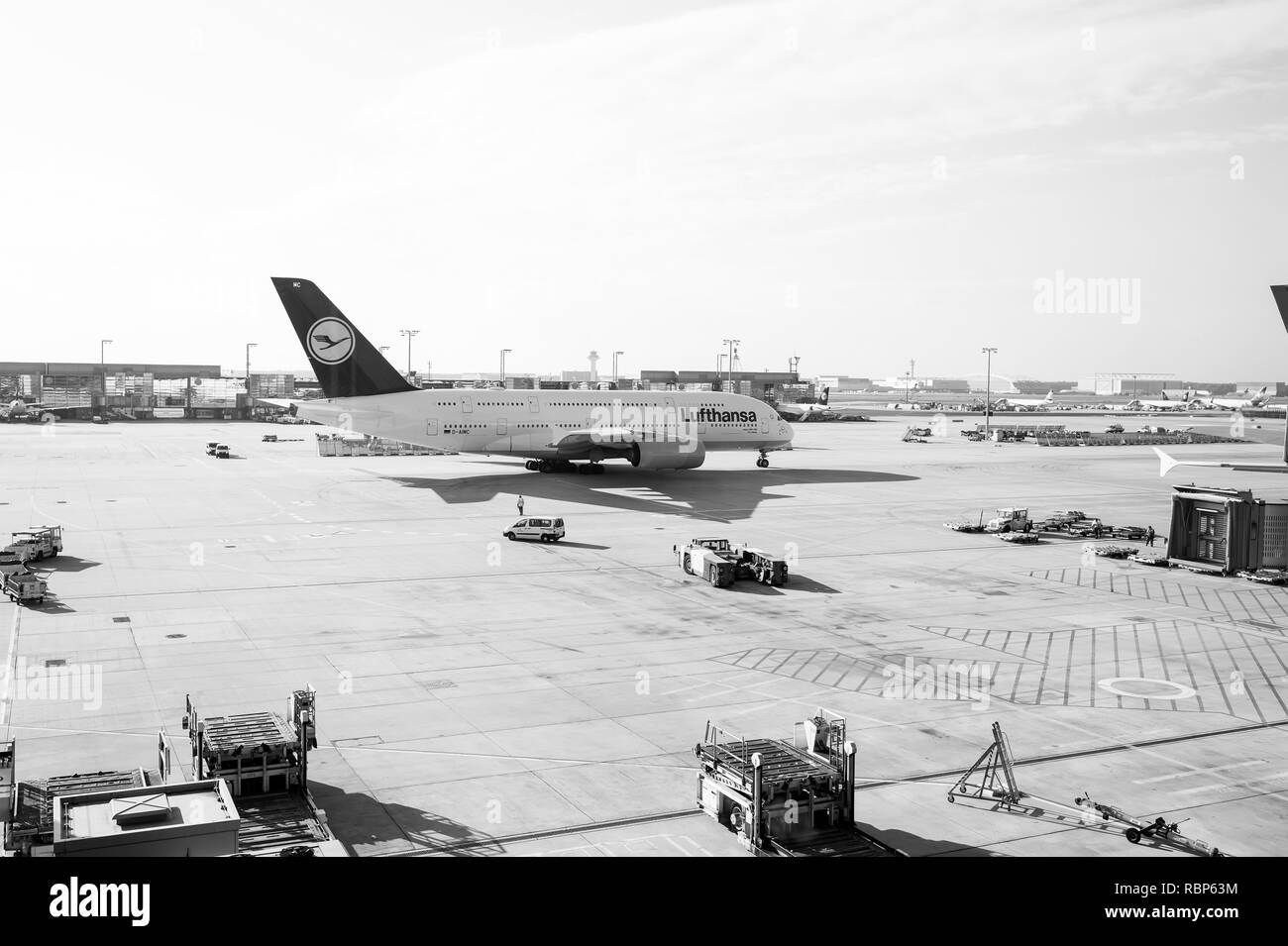 Frankfurt am Main, Germany - October 11, 2015: aviation and transport. Lufthansa airbus, jet airliner, aircraft or large passenger plane in airport. Travelling by air. Vacation, wanderlust, journey - Stock Image