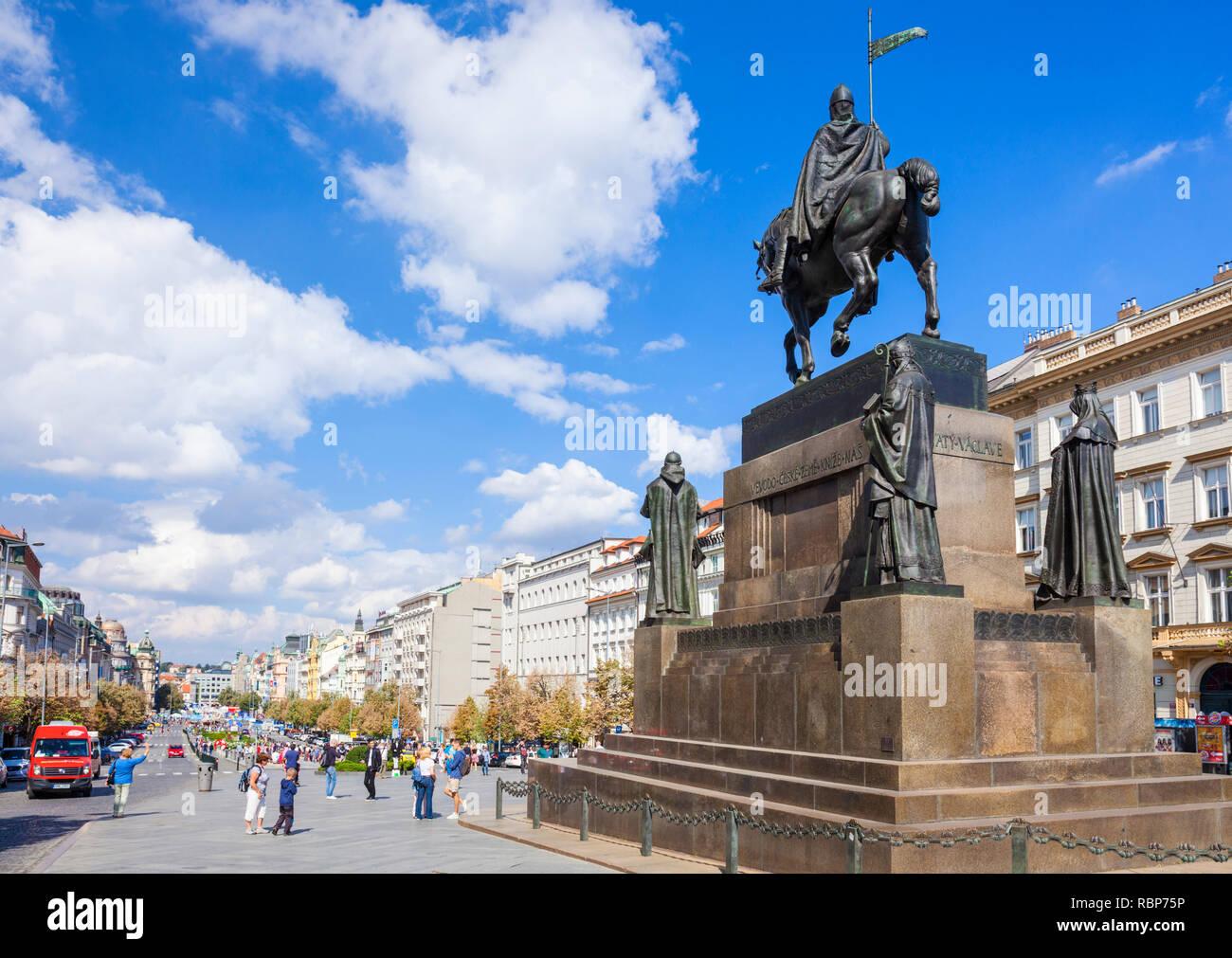 Prague statue of St Wenceslas Wenceslas Monument wenceslas square Prague Czech Republic Europe - Stock Image