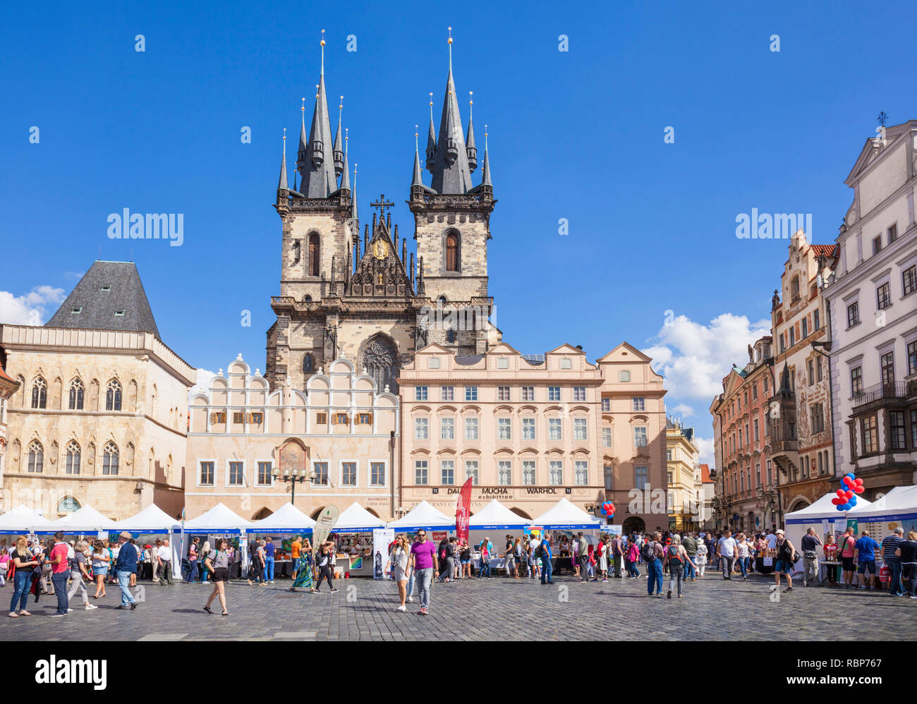 Prague Tyn church Front view of The Church of Our Lady Before Tyn in the Old Town Square Staromestske Namesti Staré Město Prague Czech Republic Europe - Stock Image