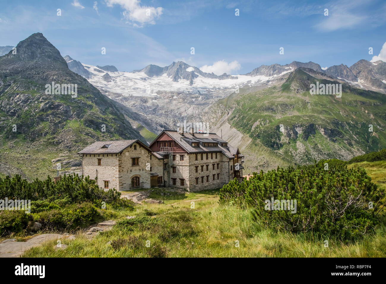 Berliner Hut mountain refuge in the Zillertal Alps of the Tyrol near the resort town of Mayrhofen in Austria Stock Photo