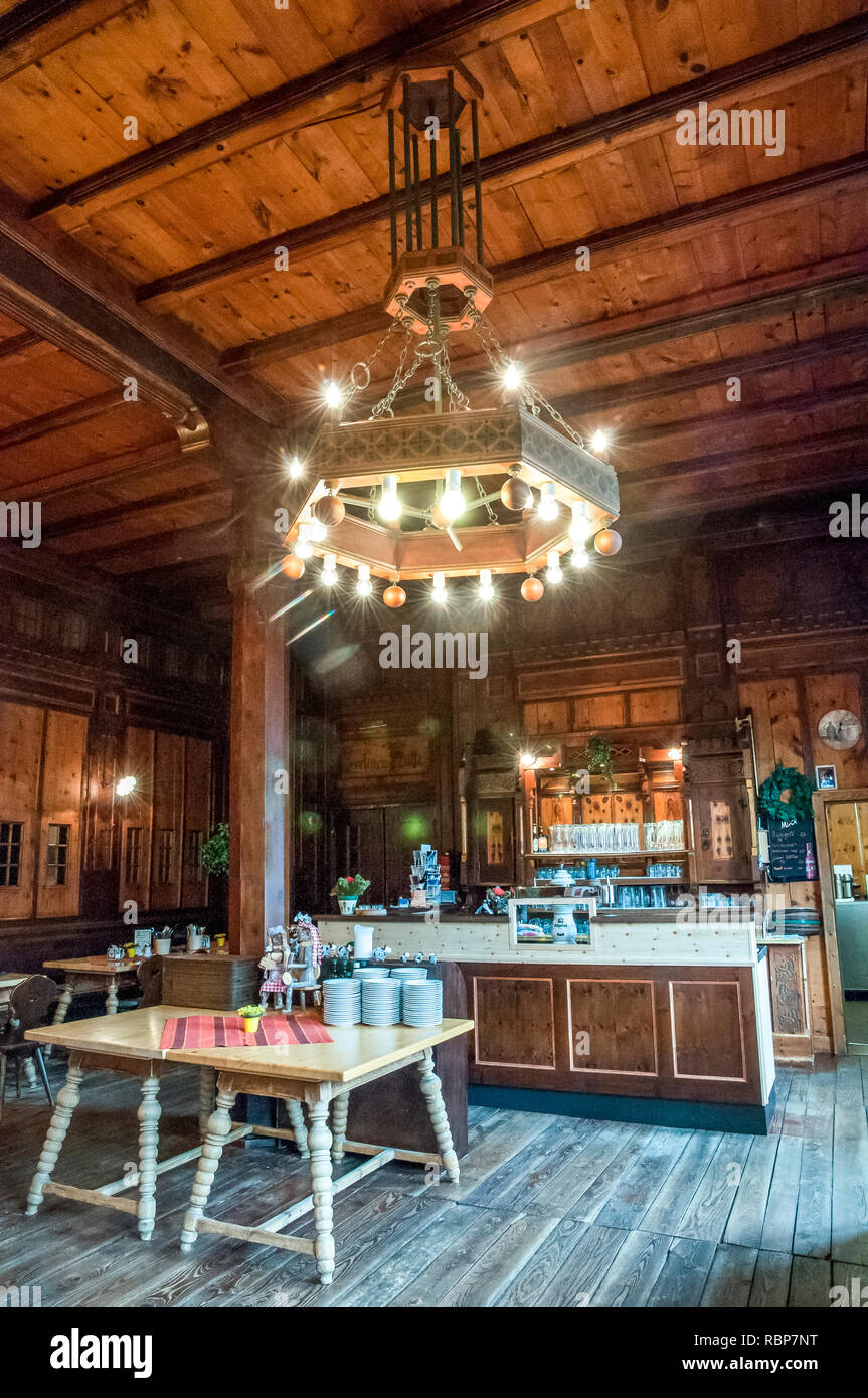 The interior of the splendid Berliner Hut mountain refuge in the Zillertal Alps of the Tyrol near the resort town of Mayrhofen in Austria Stock Photo