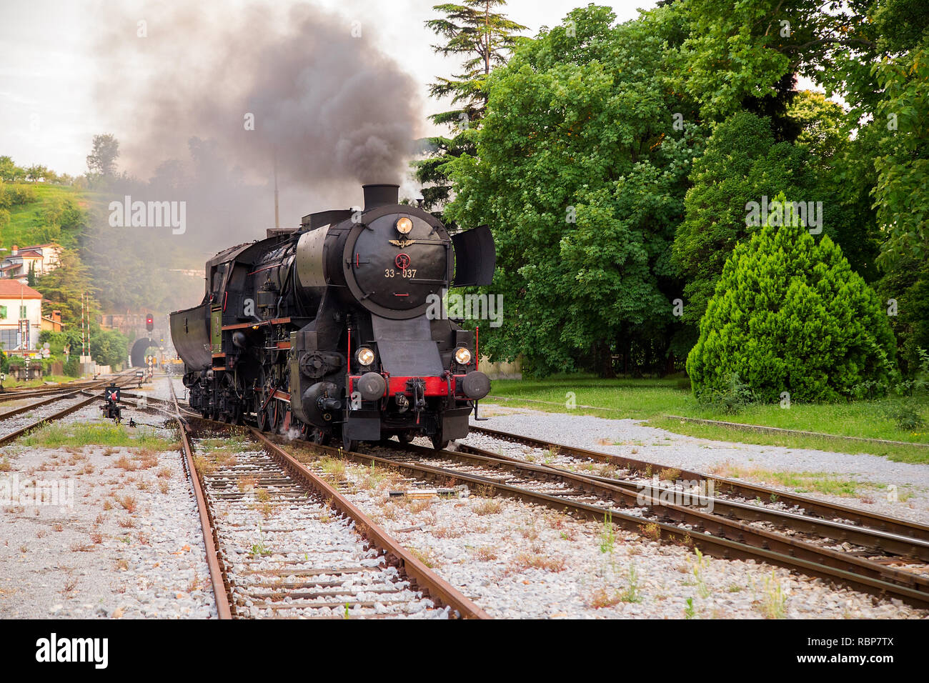Old Steam train at the Railway Station of Nova Gorica, Slovenia - Stock Image