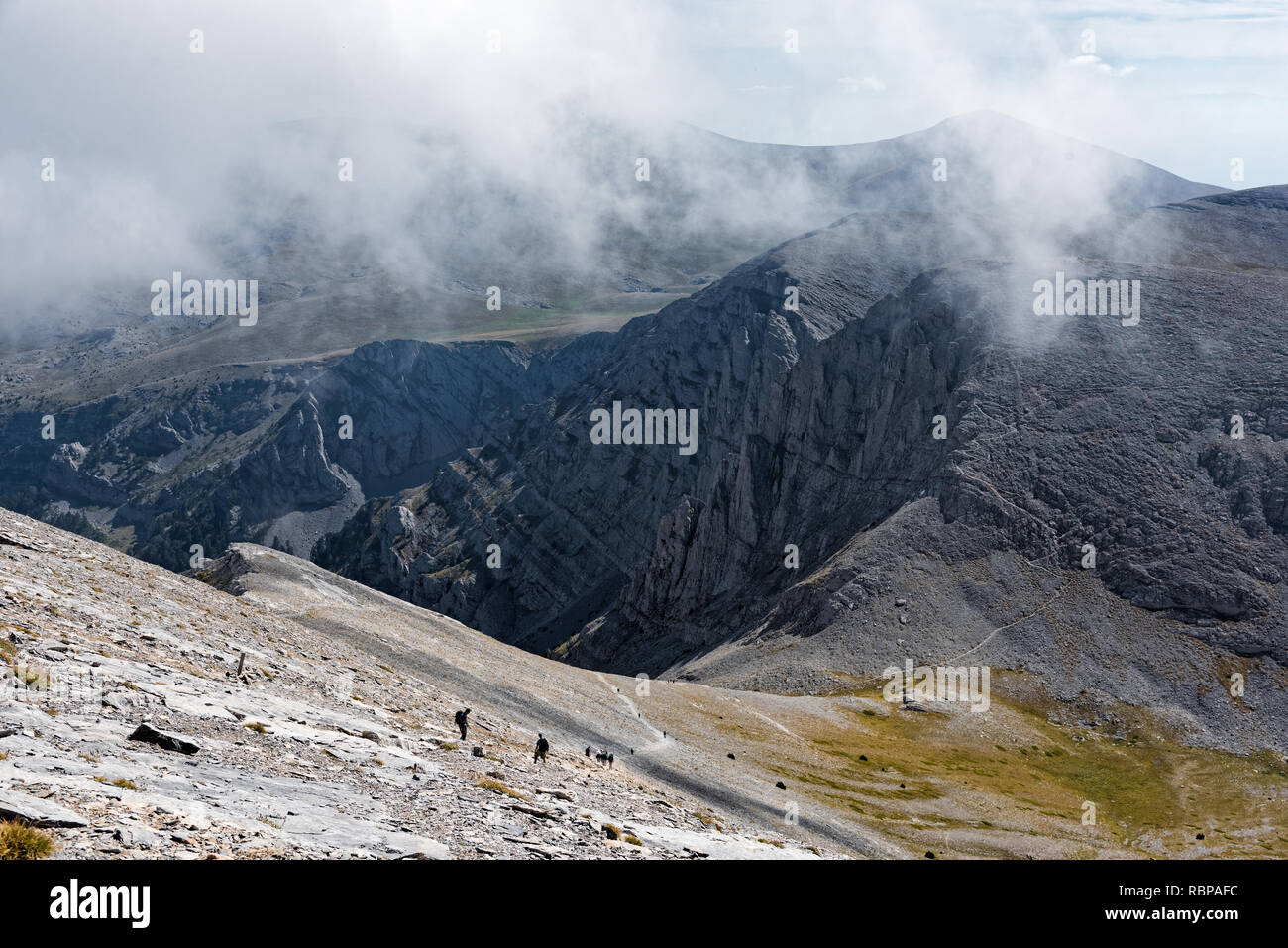 Cloudscape at Mount Olympus, the highest mountain of Greece and  home of the ancient Greek gods - Stock Image