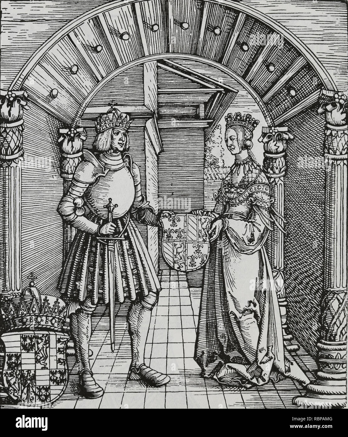Maximilian I (1459-1519). Holy Roman Emperor. Engraving by Durer. The betrothal of Maximilian I with Mary of Burgundy. - Stock Image