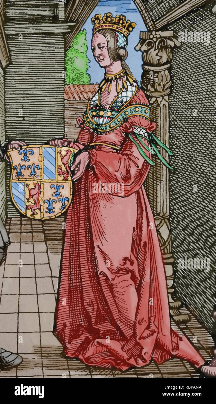 Maximilian I (1459-1519). Holy Roman Emperor. Engraving by Durer. The betrothal of Maximilian I with Mary of Burgundy. Detail - Stock Image