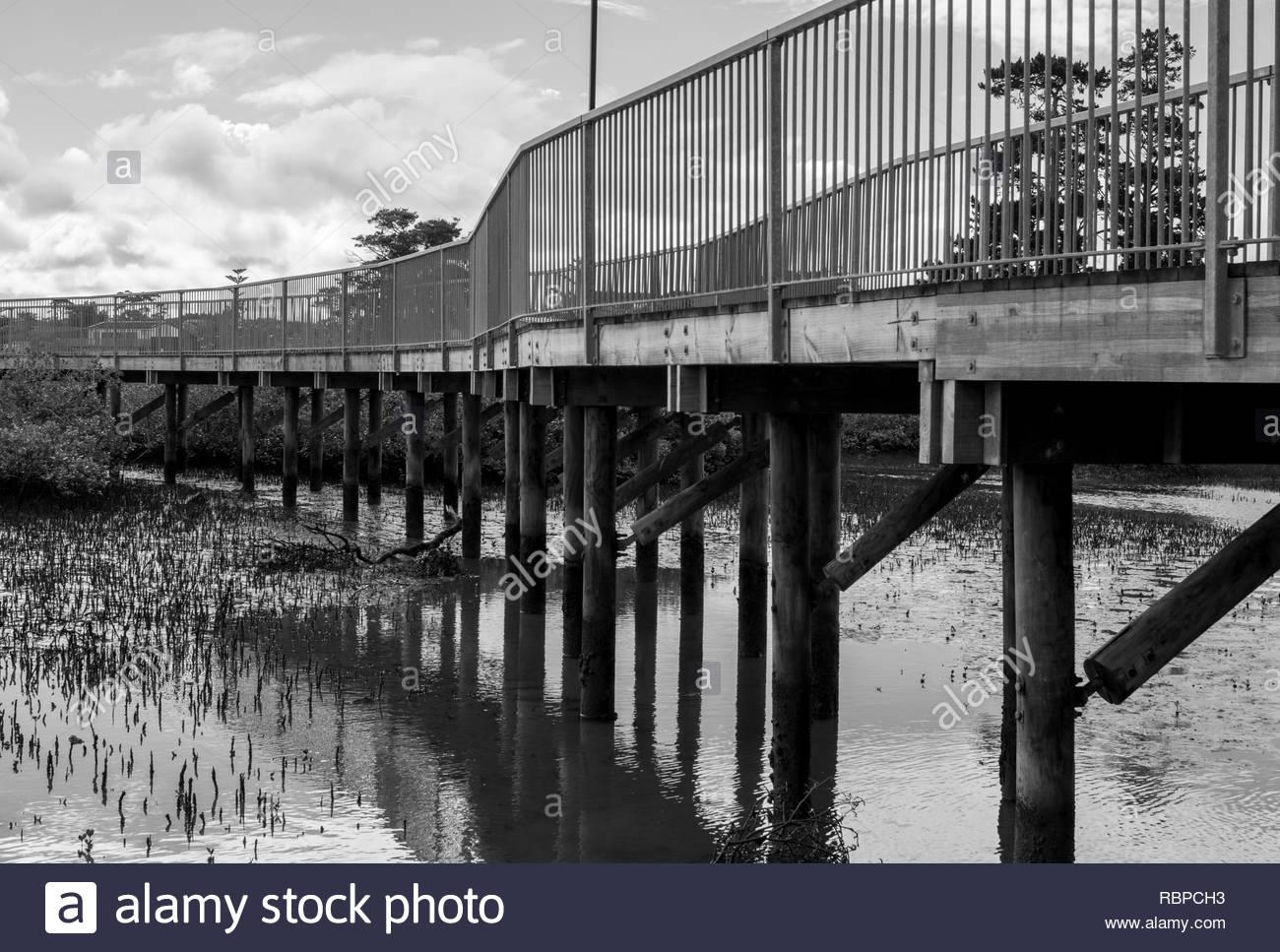 Walkway bridge in a park - Stock Image