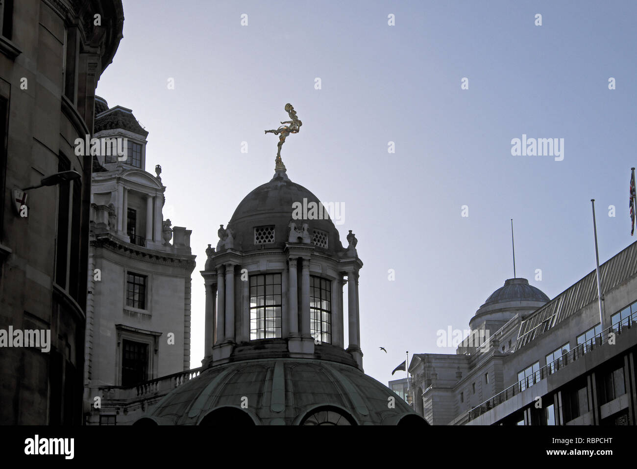 Statue of Ariel figure silhouette on the roof of the Bank of England exterior view from Lothbury & Princes Street London EC2 England UK  KATHY DEWITT - Stock Image