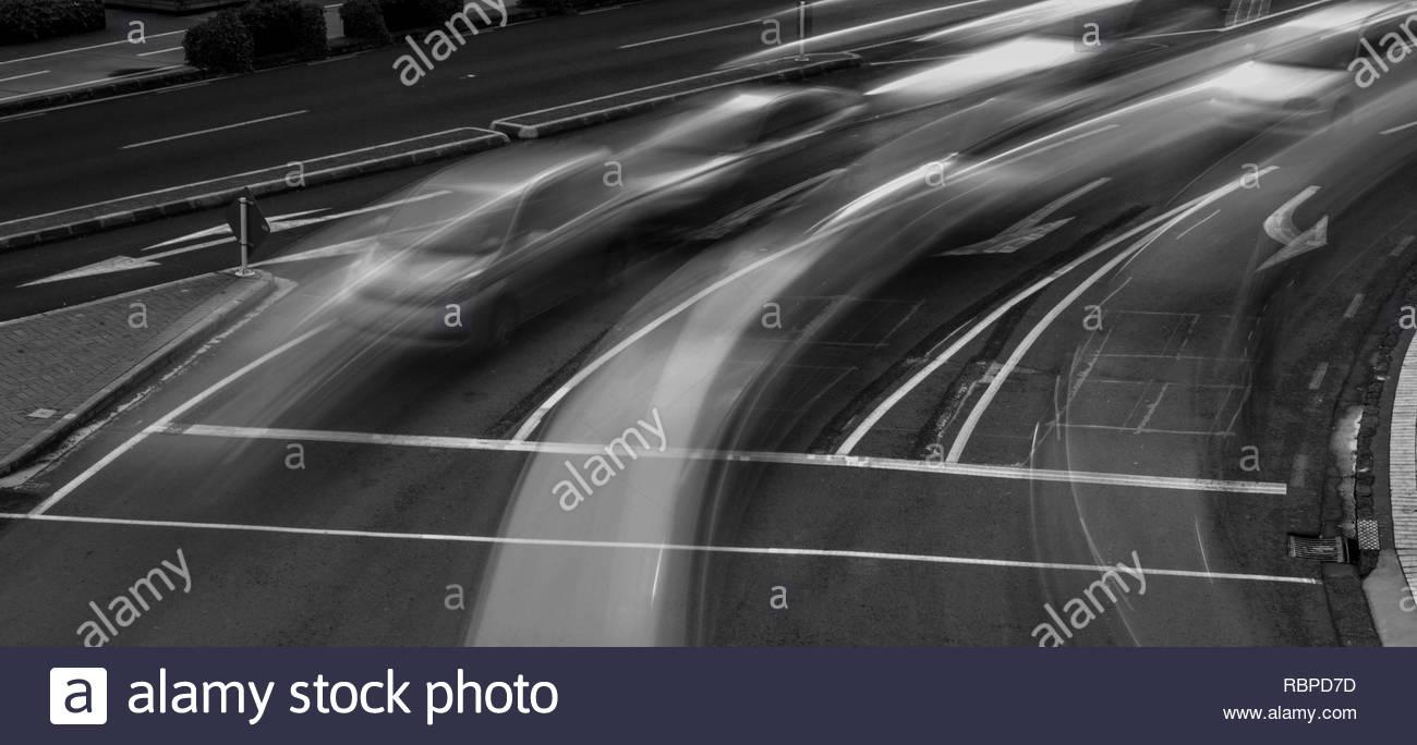 Traffic long exposure at daytime - Stock Image