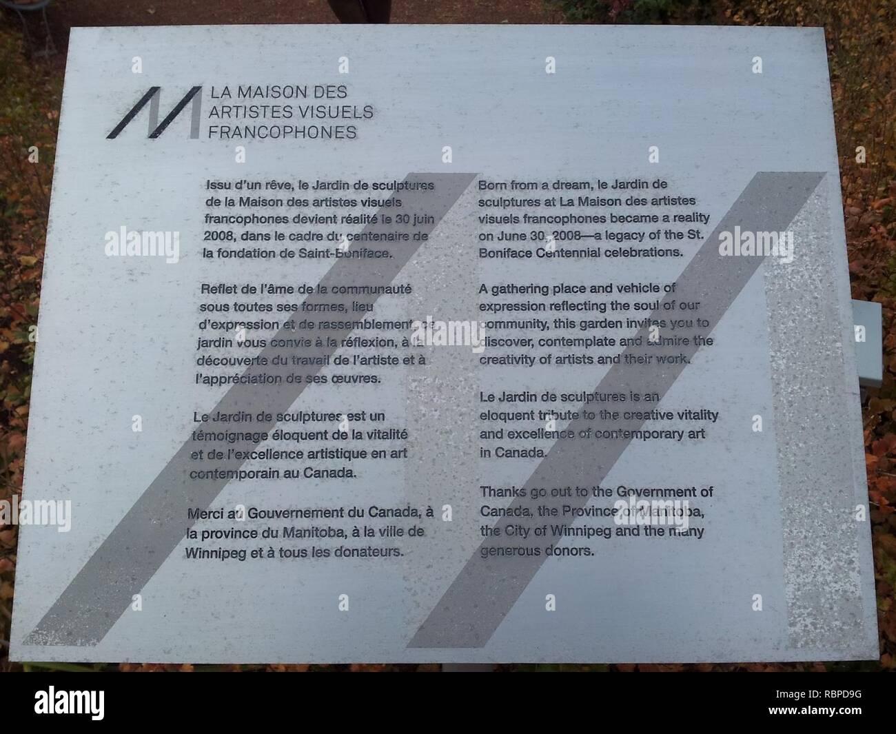 'La Maison des Artistes Visuels Francophones' signage. - Stock Image