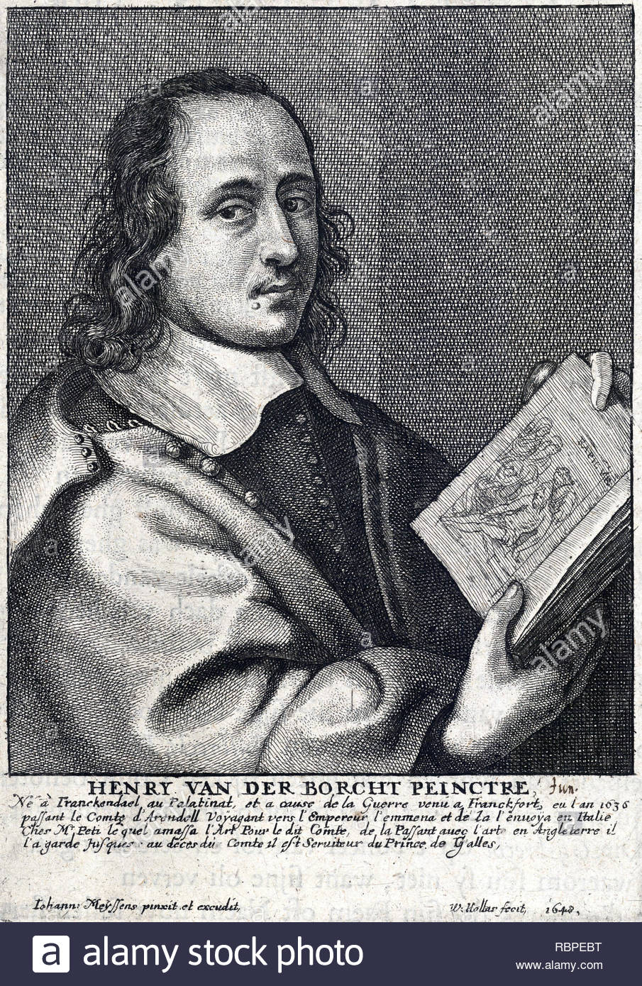 Henry van der Borcht the younger, etching by Bohemian etcher Wenceslaus Hollar from 1648 - Stock Image