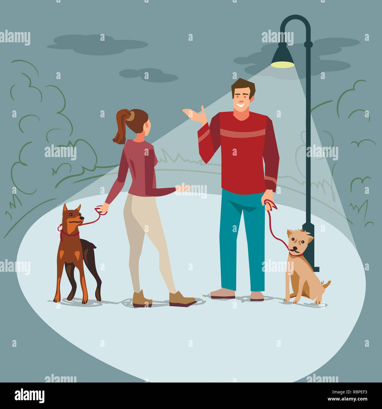 Young people (man and woman) walk in the park with their dogs in the evening when lighted lanterns. Illustration of people with pets in the street - Stock Vector