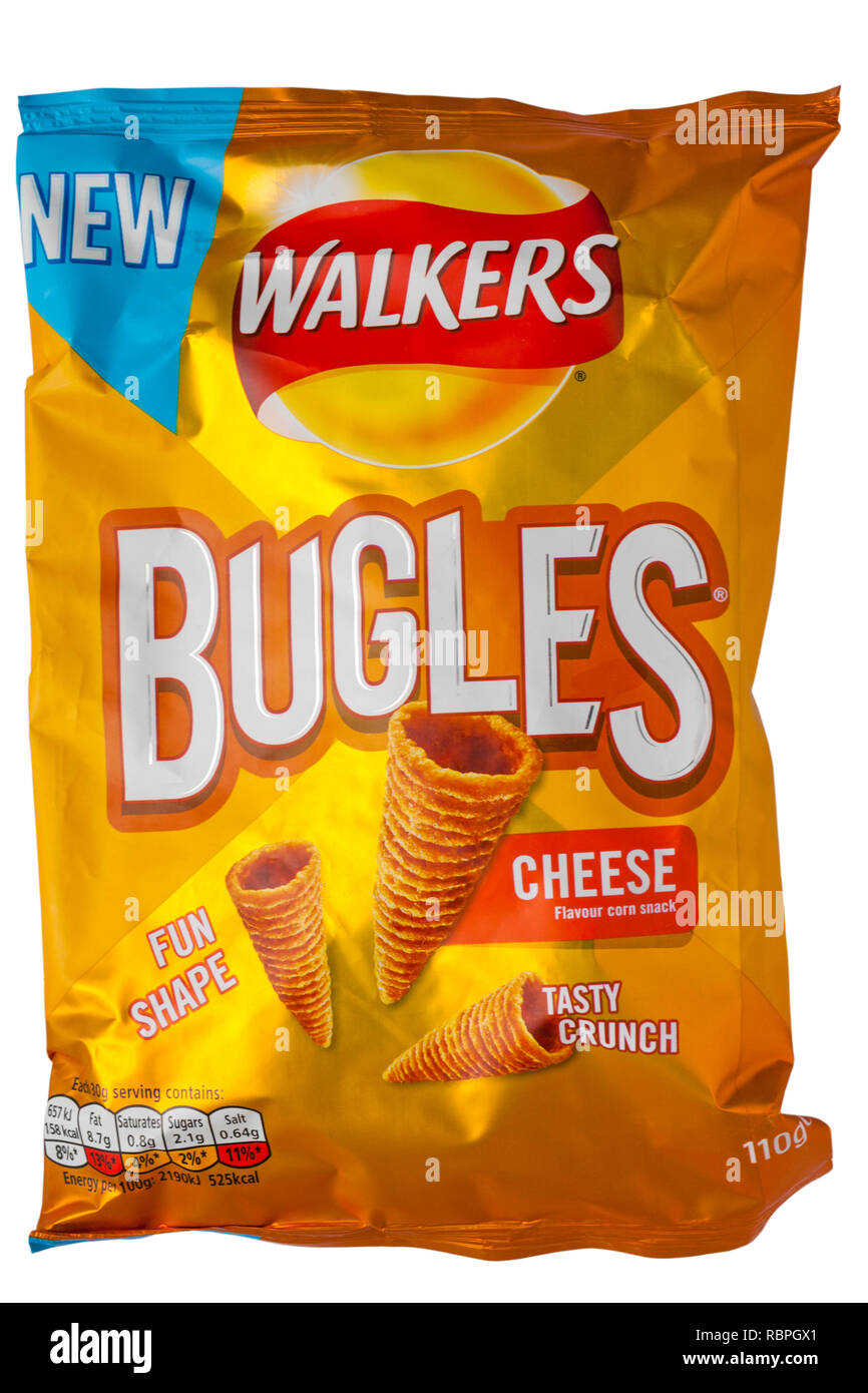 Packet of Walkers Bugles cheese flavour corn snack isolated on white background - Stock Image