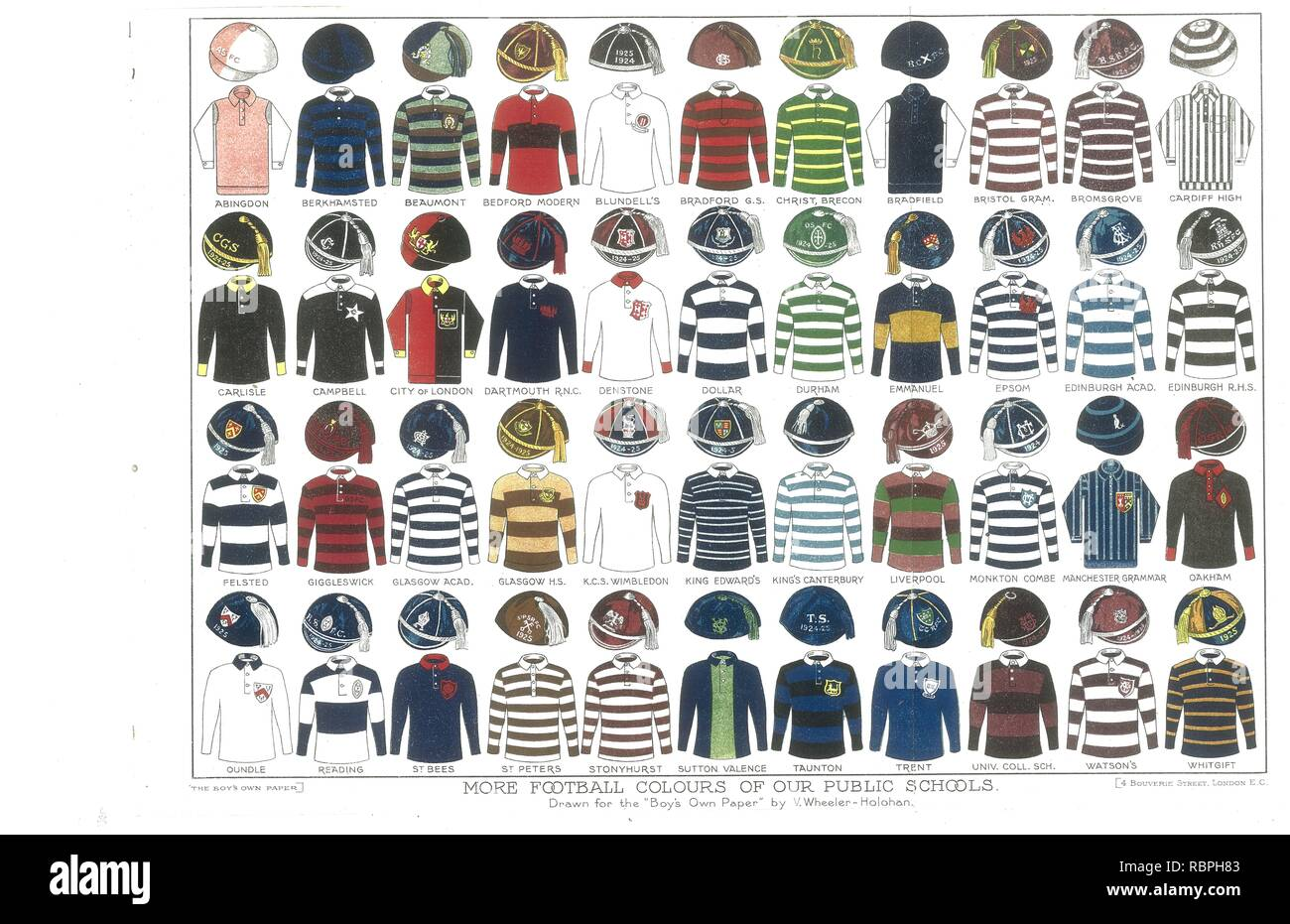 Fold out illustration for the Boys Own Paper of Football colours of Public Schools 1926 Stock Photo