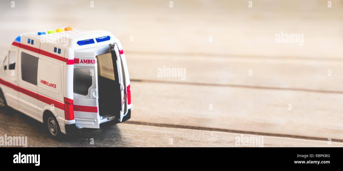ambulance doors horizontal background health care toy copy space - Stock Image