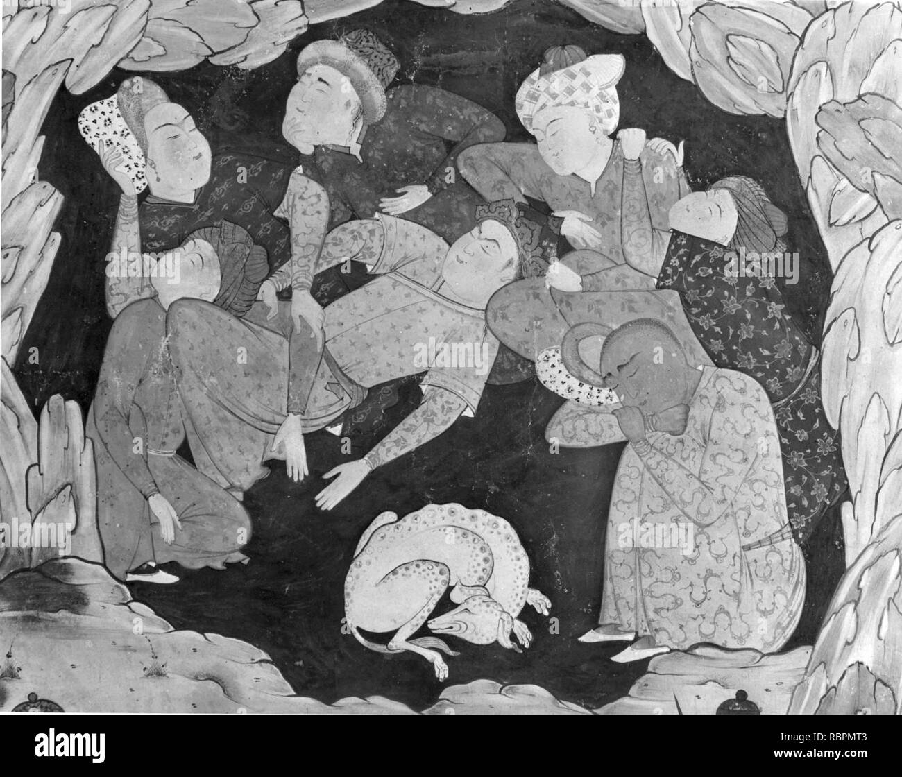 'The Seven Sleepers of Ephesus Discovered by Alexander the Great', Folio from a Falnama (Book of Omens) - Stock Image