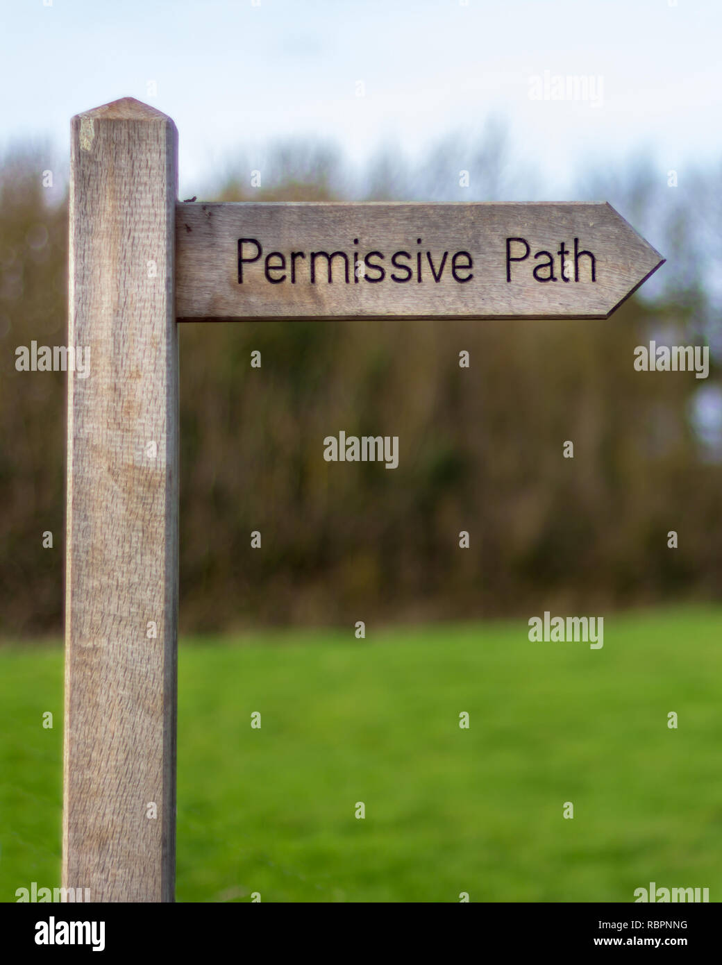 A wood trail sign points the way of the 'Permissive Path' with trees and a meadow in the background - Stock Image