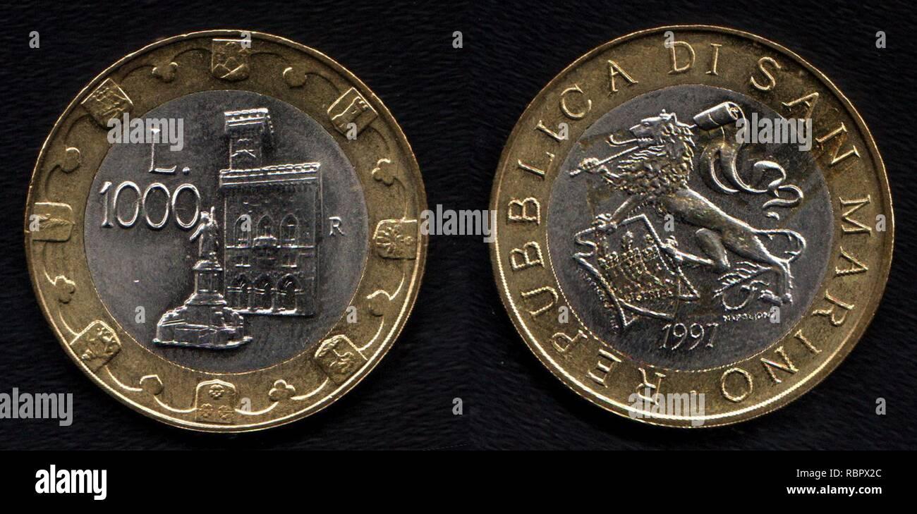 1000 lire sanMarino. - Stock Image