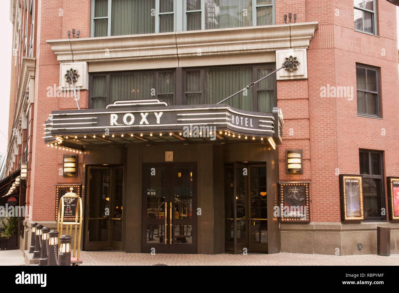 The Roxy Hotel, formerly the Tribeca Grand Hotel, is situated in the Tribeca neighborhood of Lower Manhattan, New York City - Stock Image