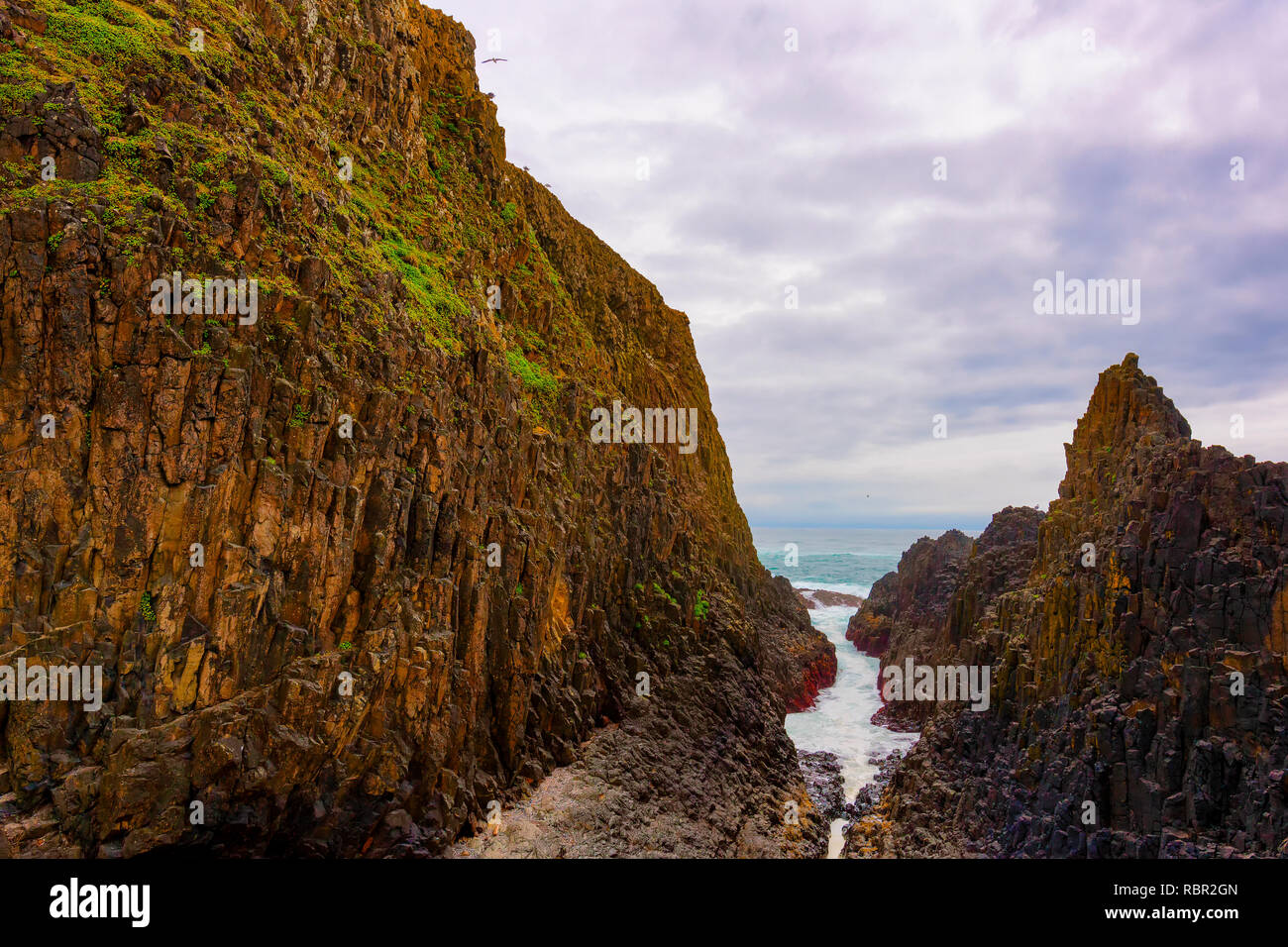 Landscape view seen from Seal Rock Beach in Oregon - Stock Image