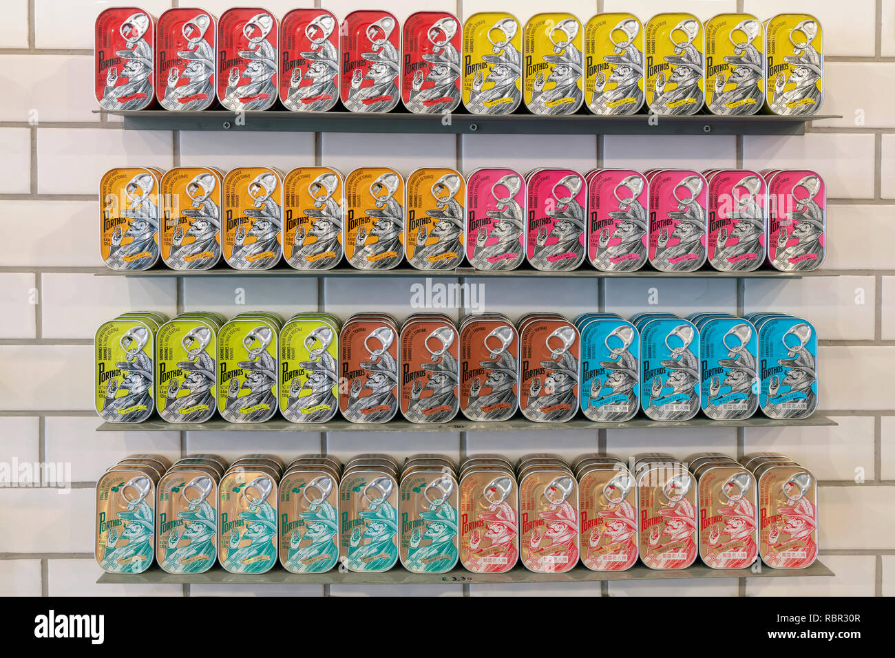 Traditional canned fish for sale at Conserveira de Lisboa shop, Lisbon, Portugal - Stock Image